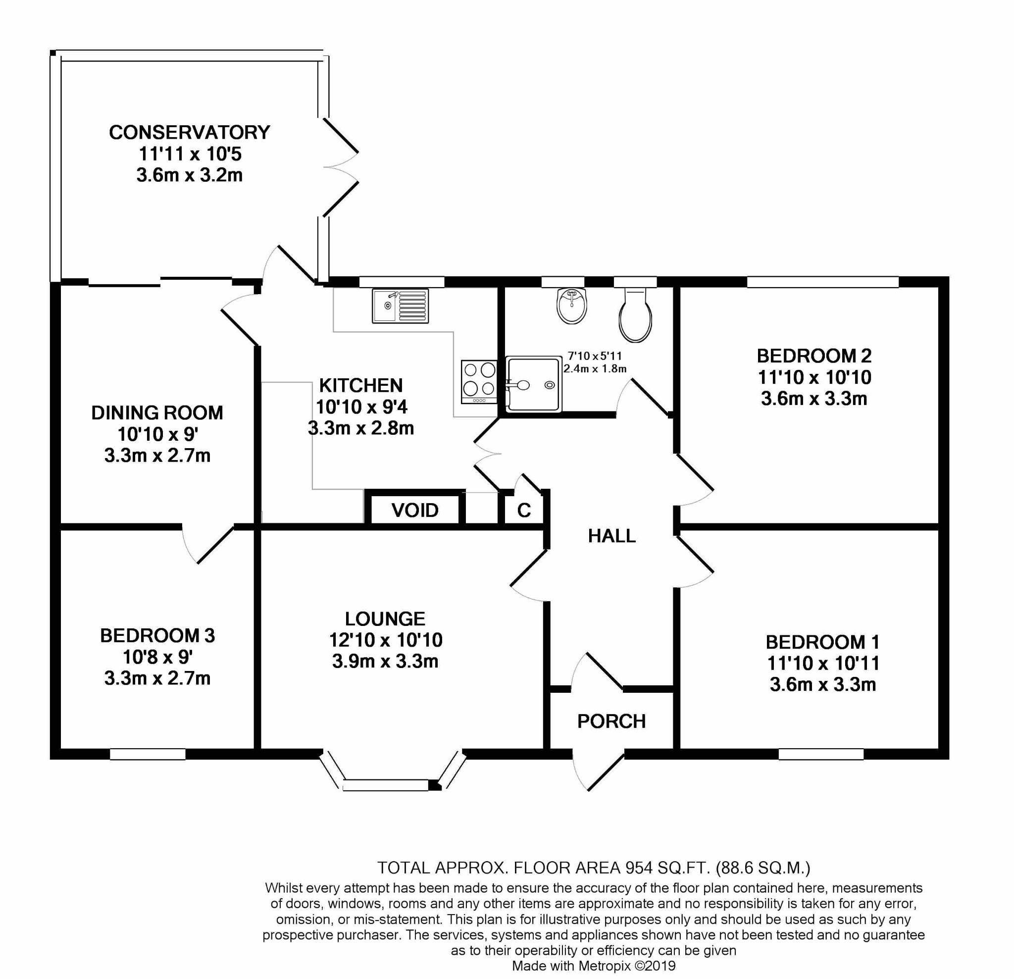 3 bedroom detached bungalow For Sale in Ramsey - Floorplan 1