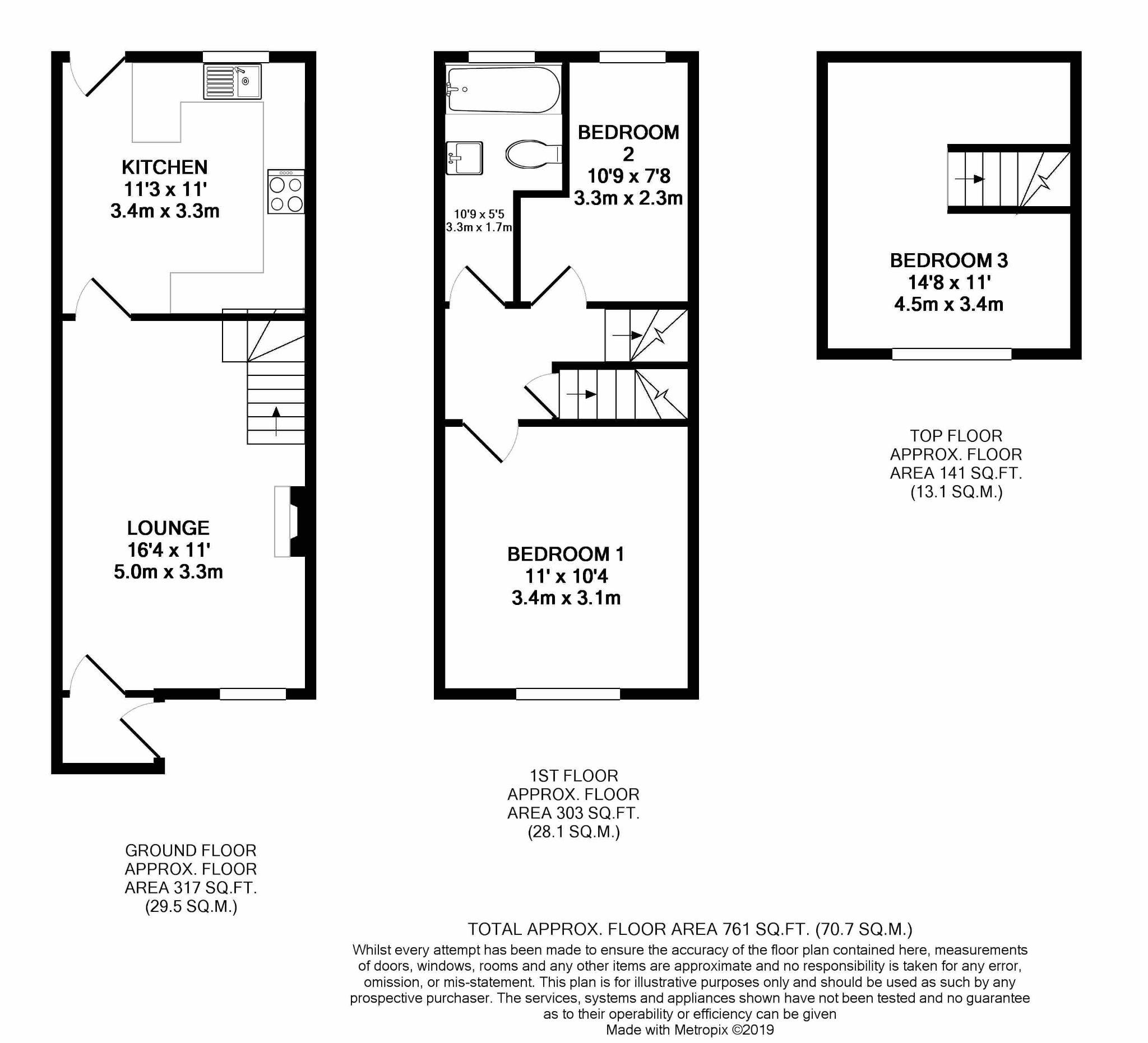 3 bedroom mid terraced house For Sale in St Johns - Floorplan 1