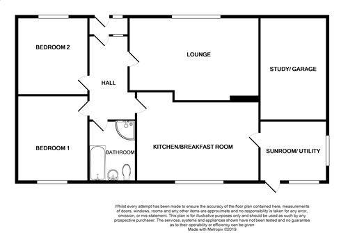 2 bedroom detached bungalow For Sale in Ballasalla - Floorplan 1