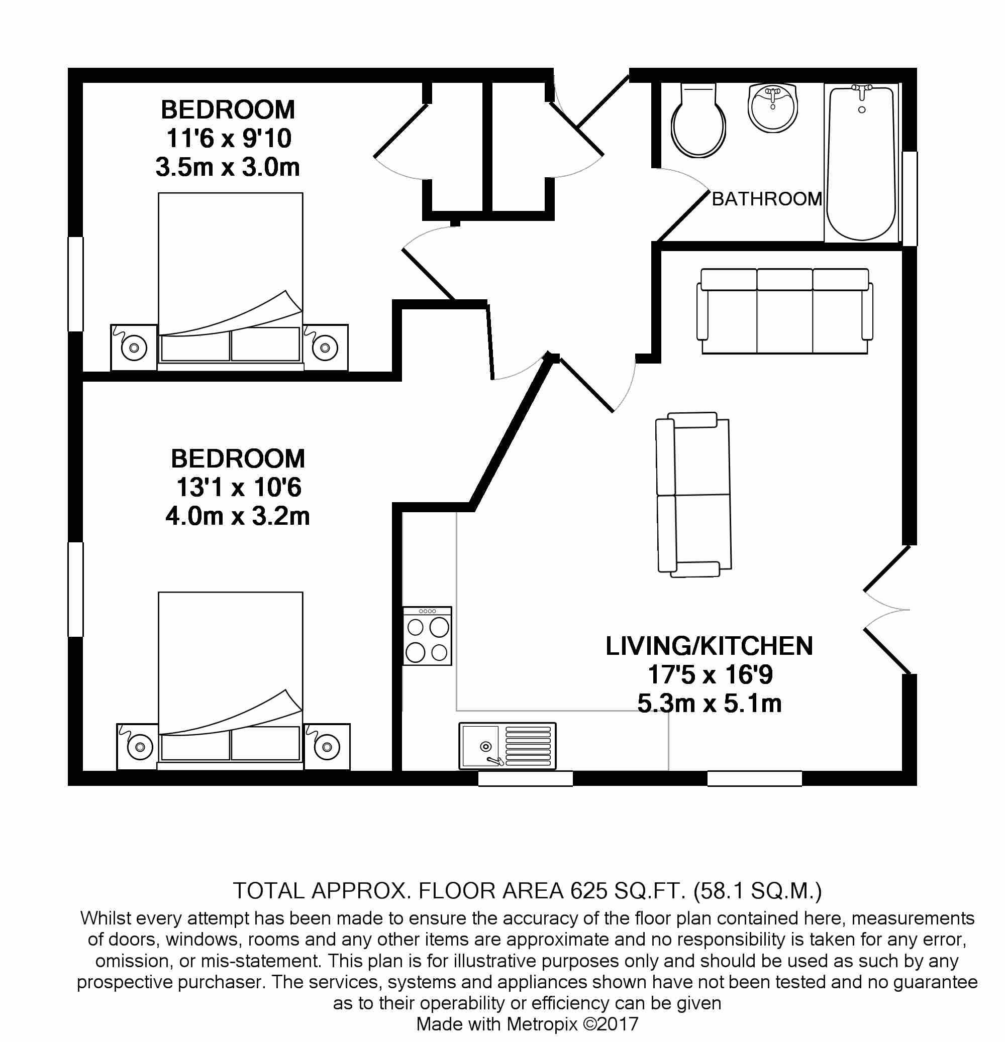 2 bedroom apartment flat/apartment For Sale in Ramsey - Floorplan 1