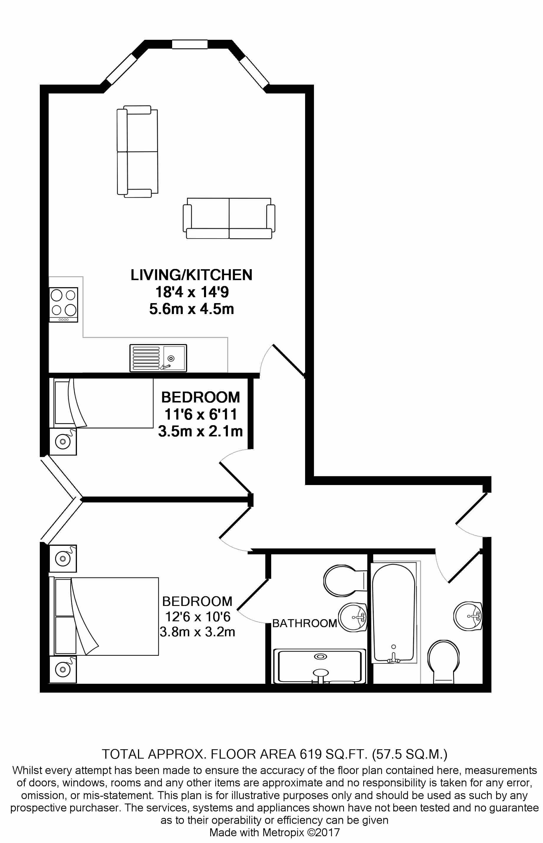 2 bedroom apartment flat/apartment For Sale in Ramsey - Floorplan 2