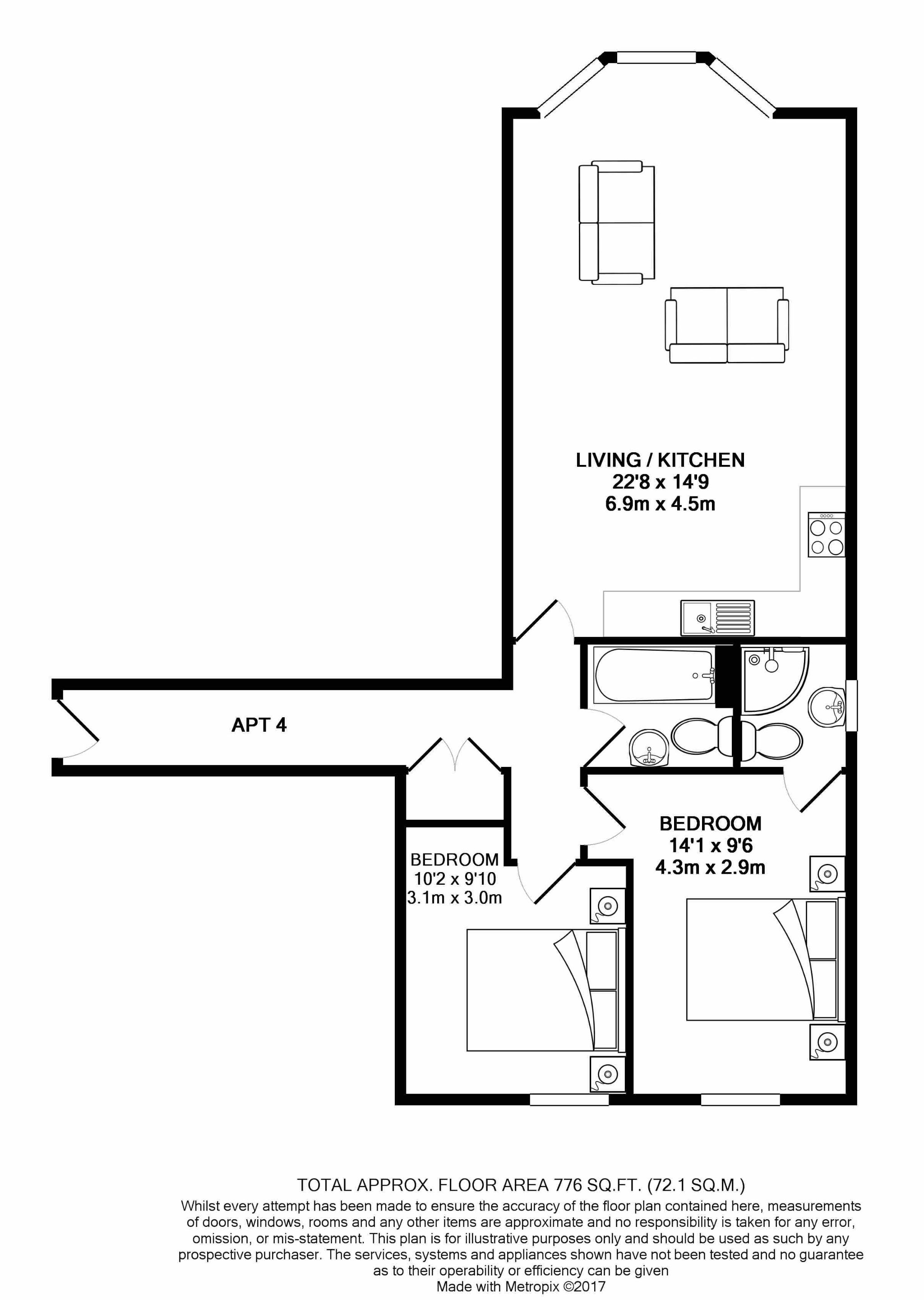 2 bedroom apartment flat/apartment For Sale in Ramsey - Floorplan 3