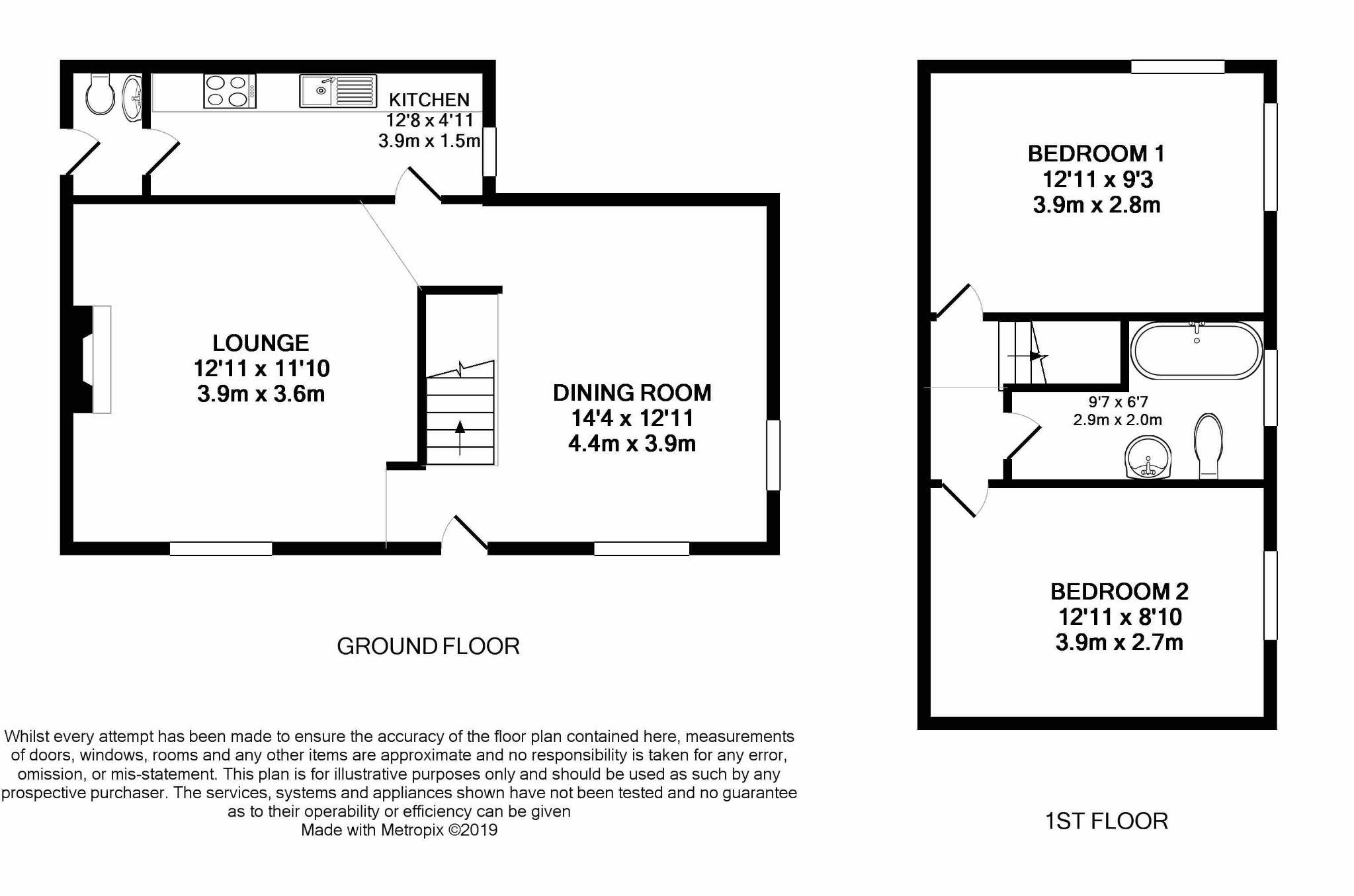 2 bedroom cottage house For Sale in Baldrine - Floorplan 1