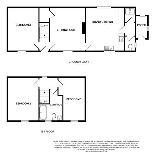 3 bedroom cottage house For Sale in Colby - Floorplan 1
