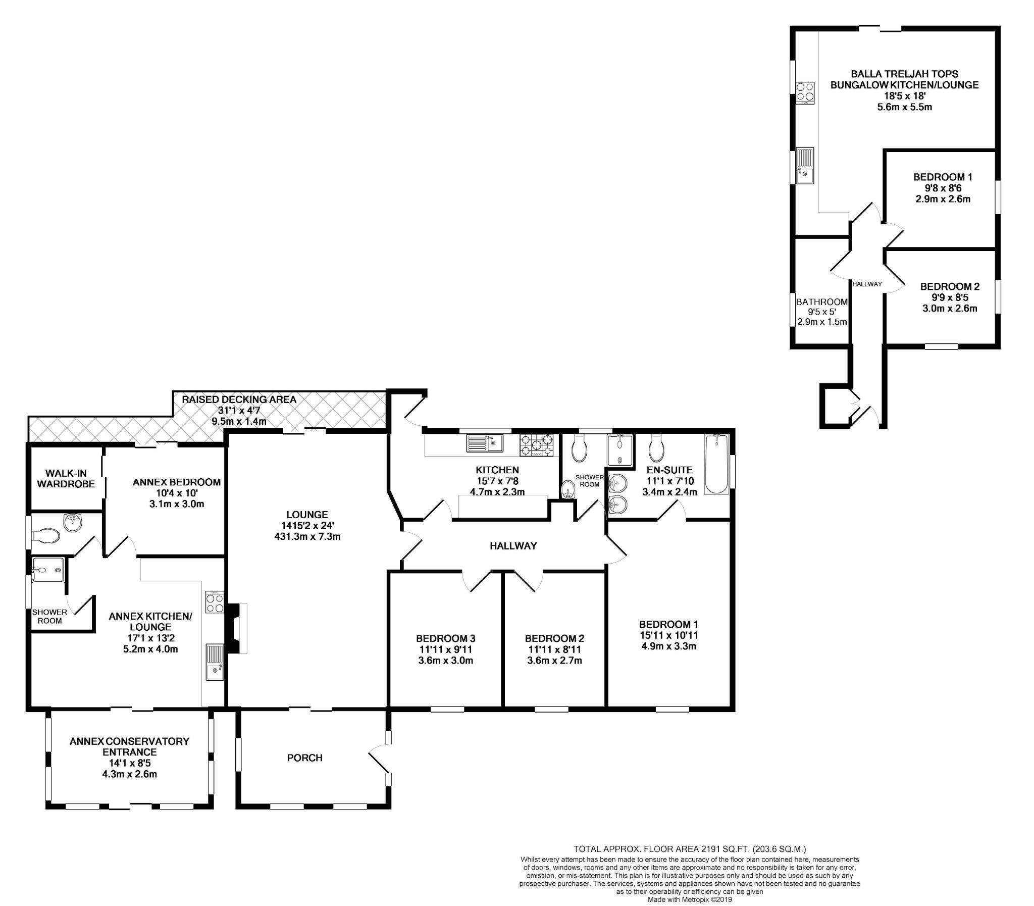 6 bedroom detached bungalow For Sale in Glen Maye - Floorplan 1
