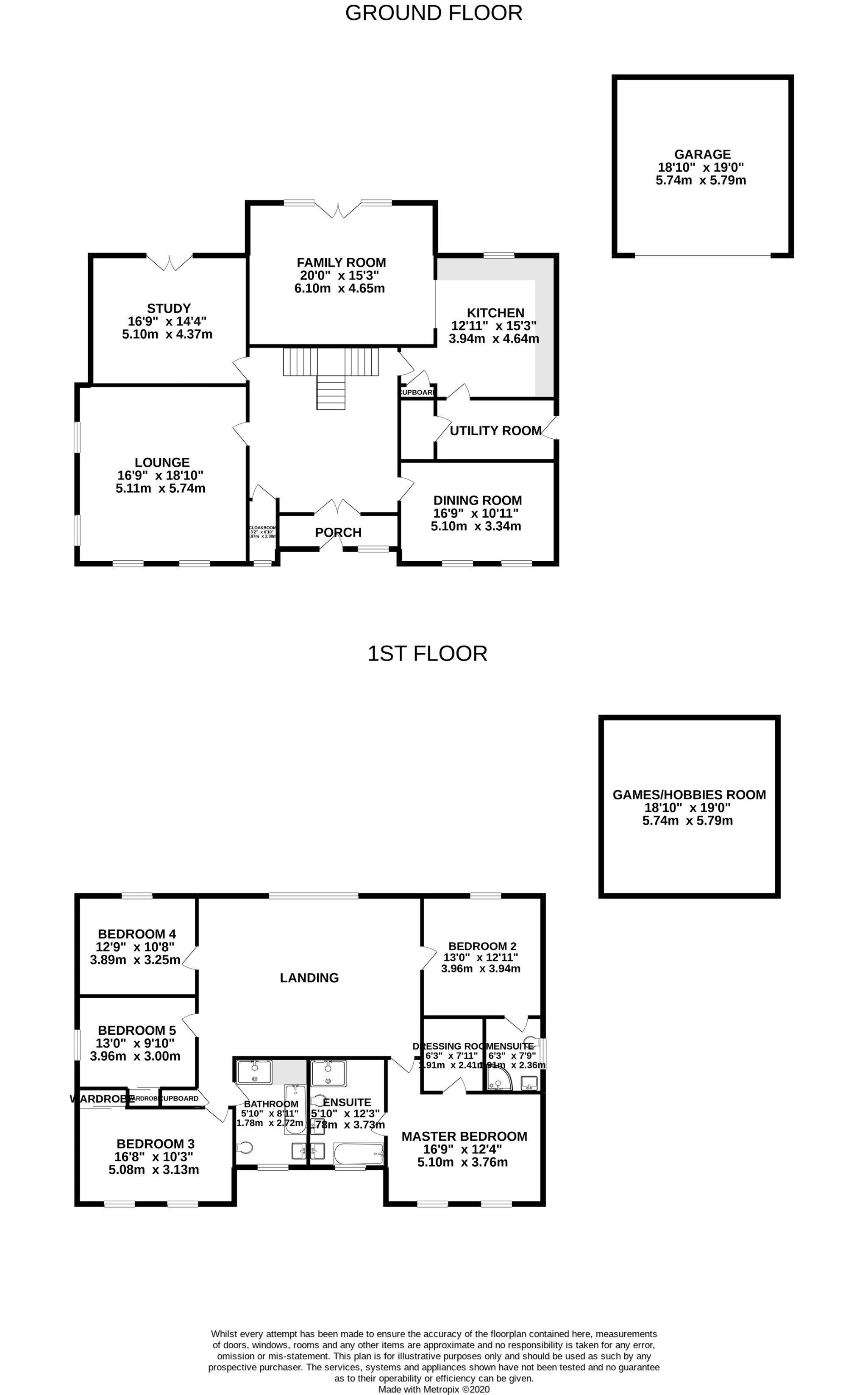 5 bedroom detached house For Sale in Glen Vine - Floorplan 1
