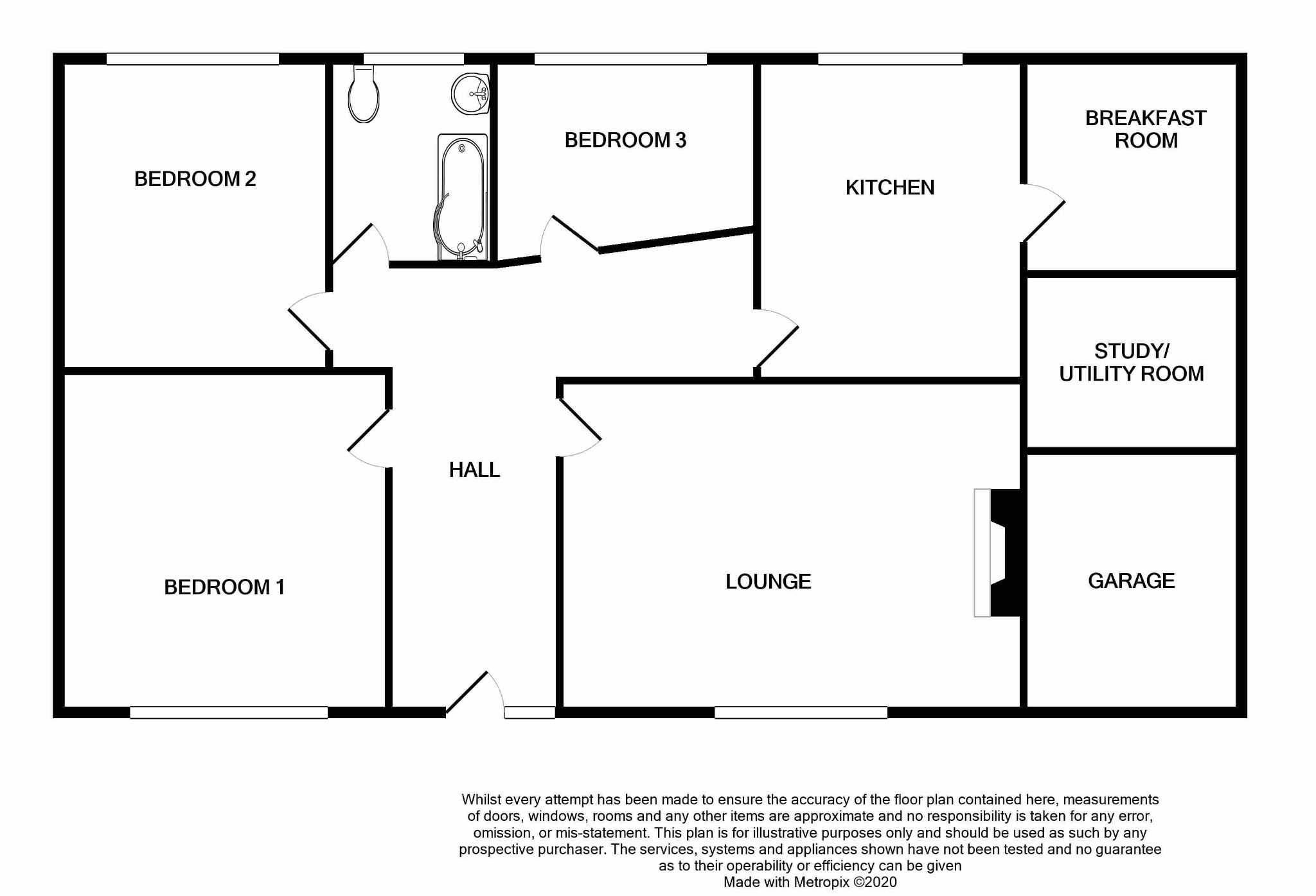 3 bedroom detached bungalow For Sale in Ballasalla - Floorplan 1