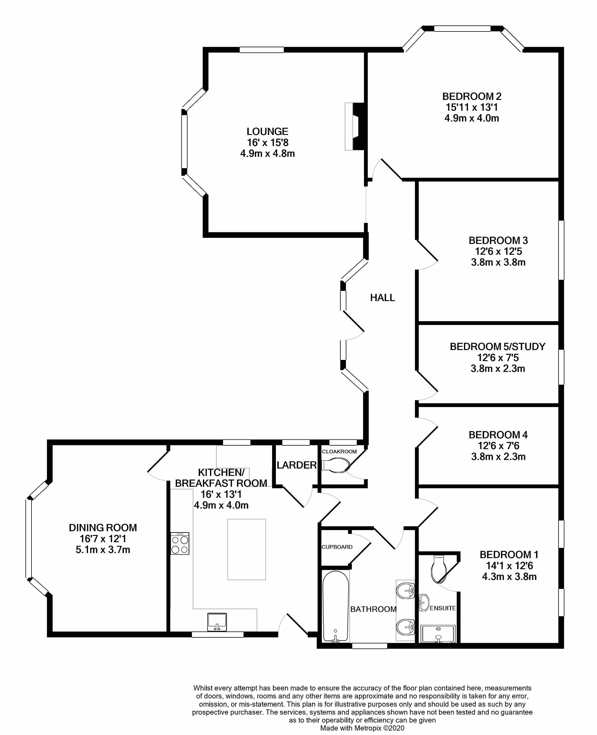 5 bedroom detached bungalow For Sale in Onchan - Floorplan 1