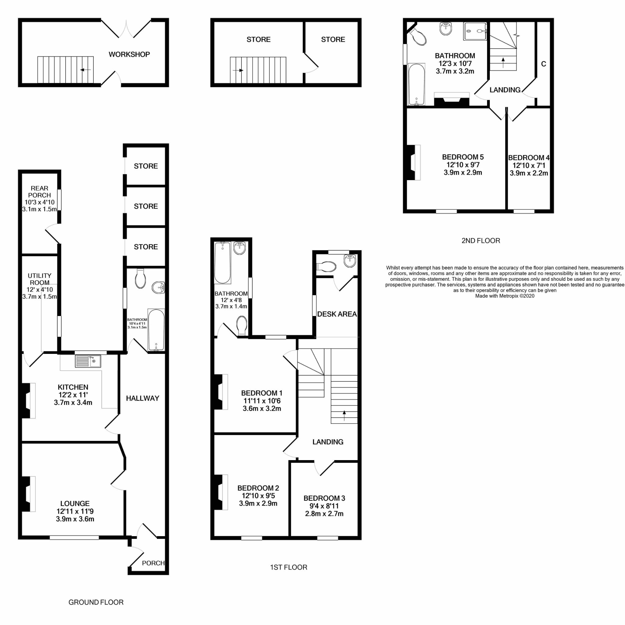 5 bedroom mid terraced house For Sale in Douglas - Floorplan 1