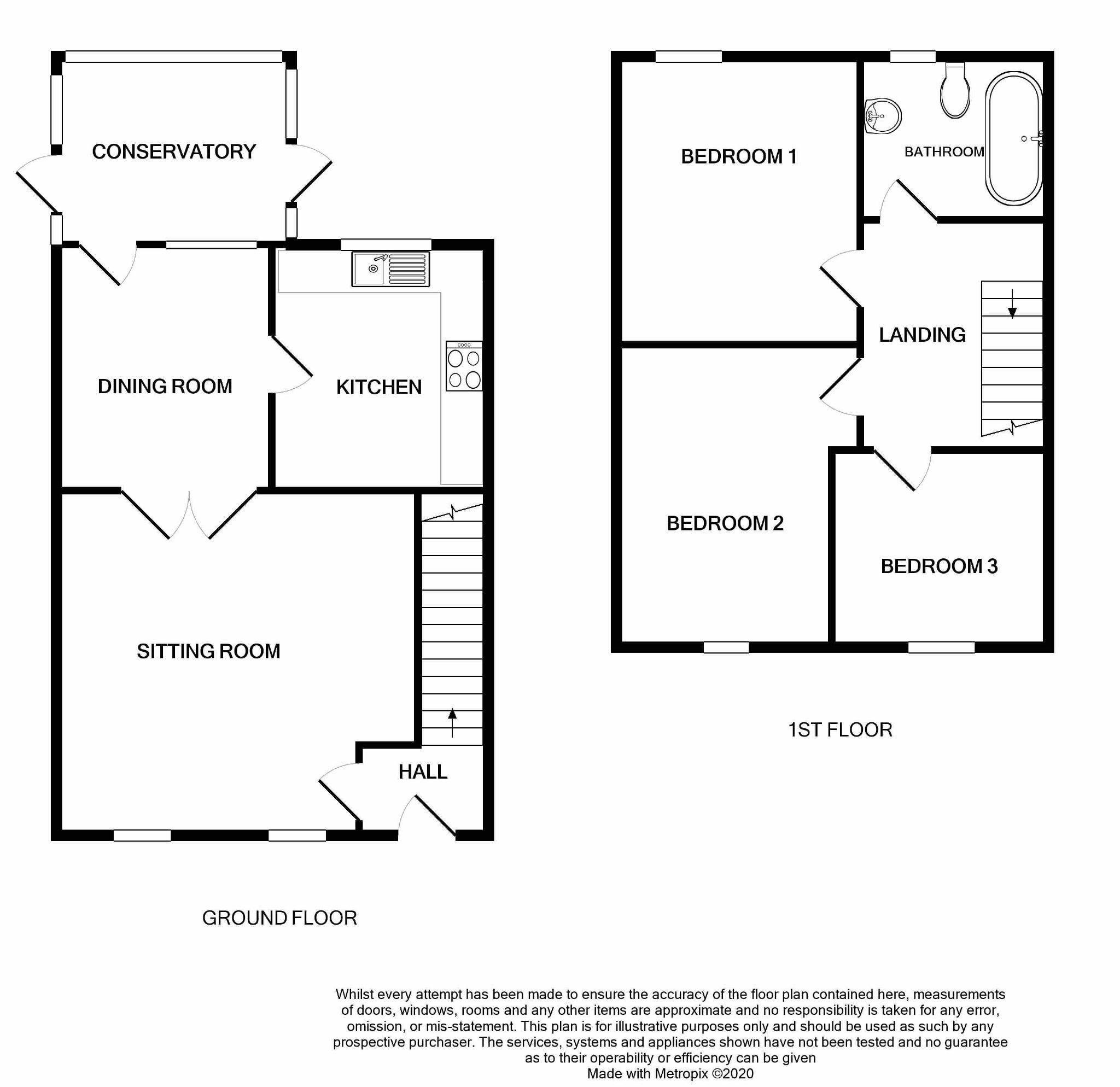 3 bedroom mid terraced house For Sale in Port Erin - Floorplan 1