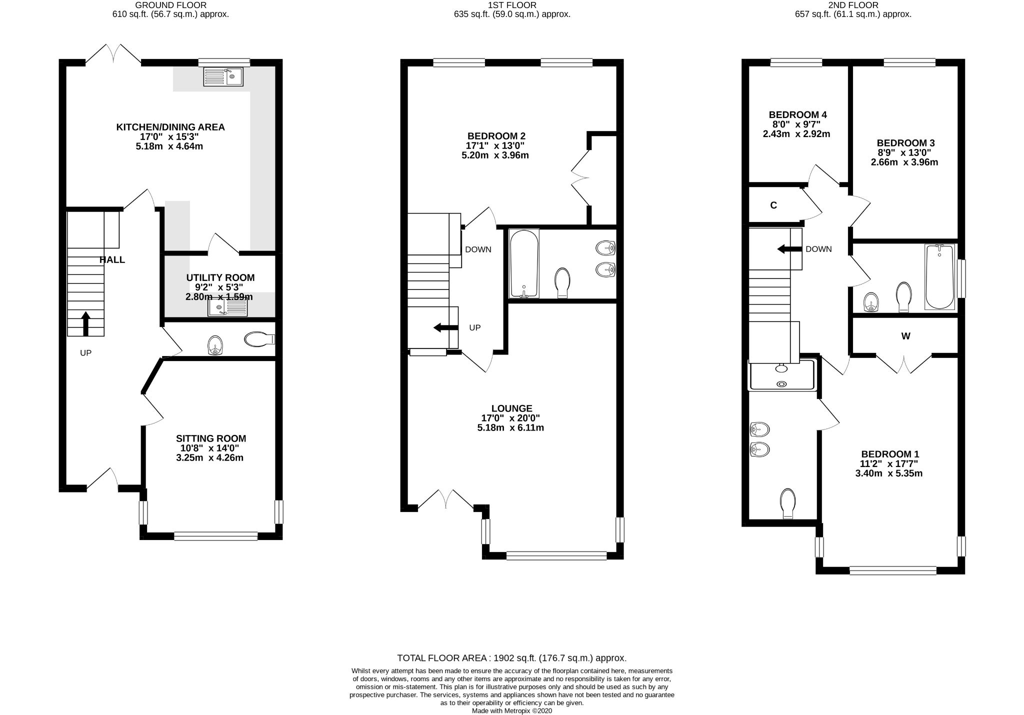 4 bedroom end terraced house For Sale in Douglas - Floorplan 1