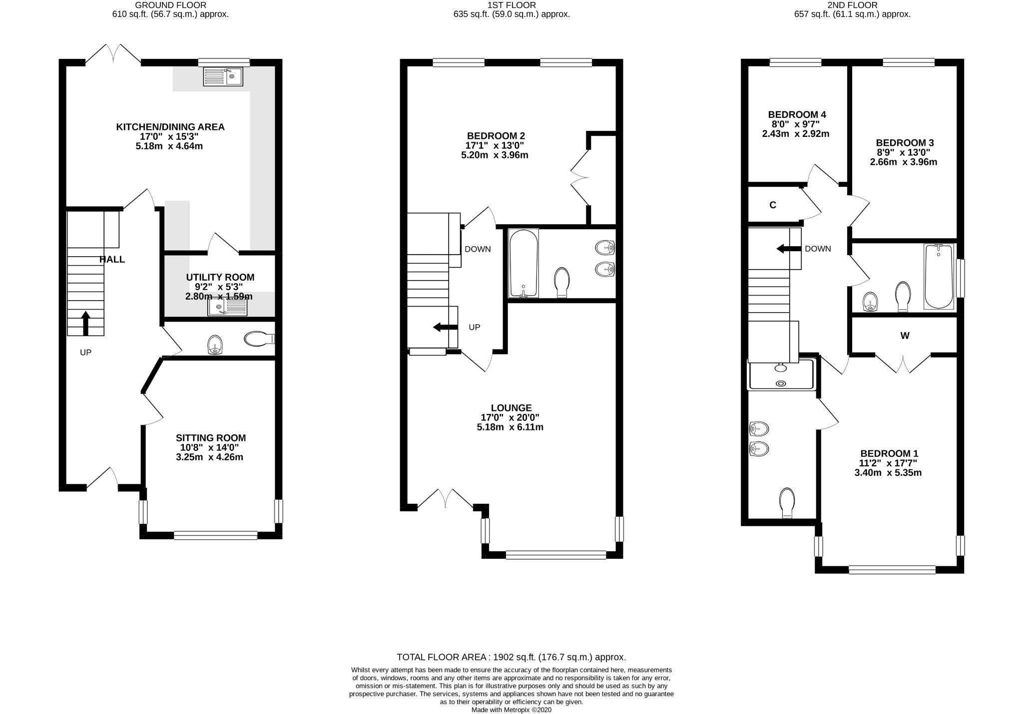 4 bedroom end terraced house SSTC in Douglas - Floorplan 1