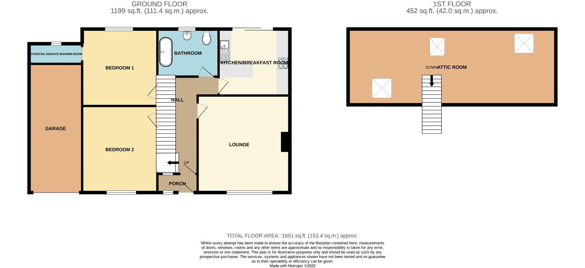 2 bedroom detached bungalow For Sale in Port Erin - Floorplan 1