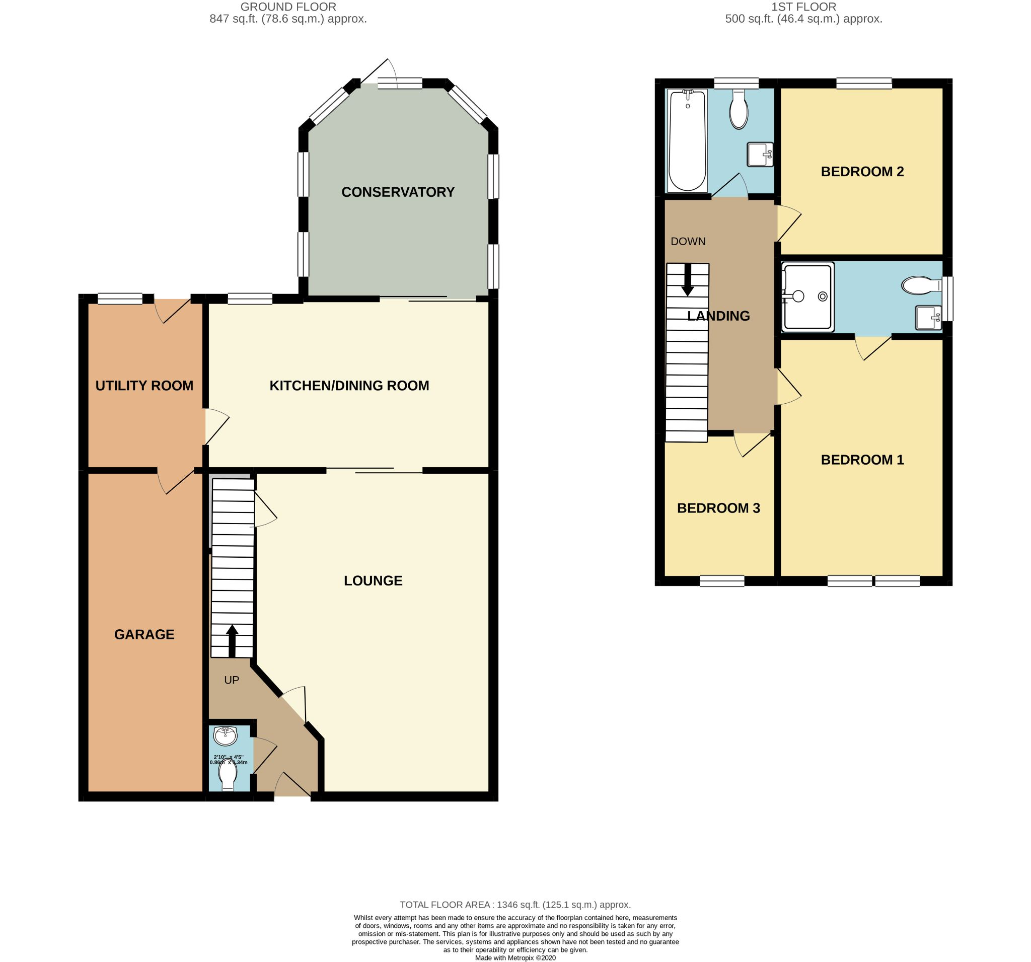 3 bedroom link detached house SSTC in Ballasalla - Floorplan 1