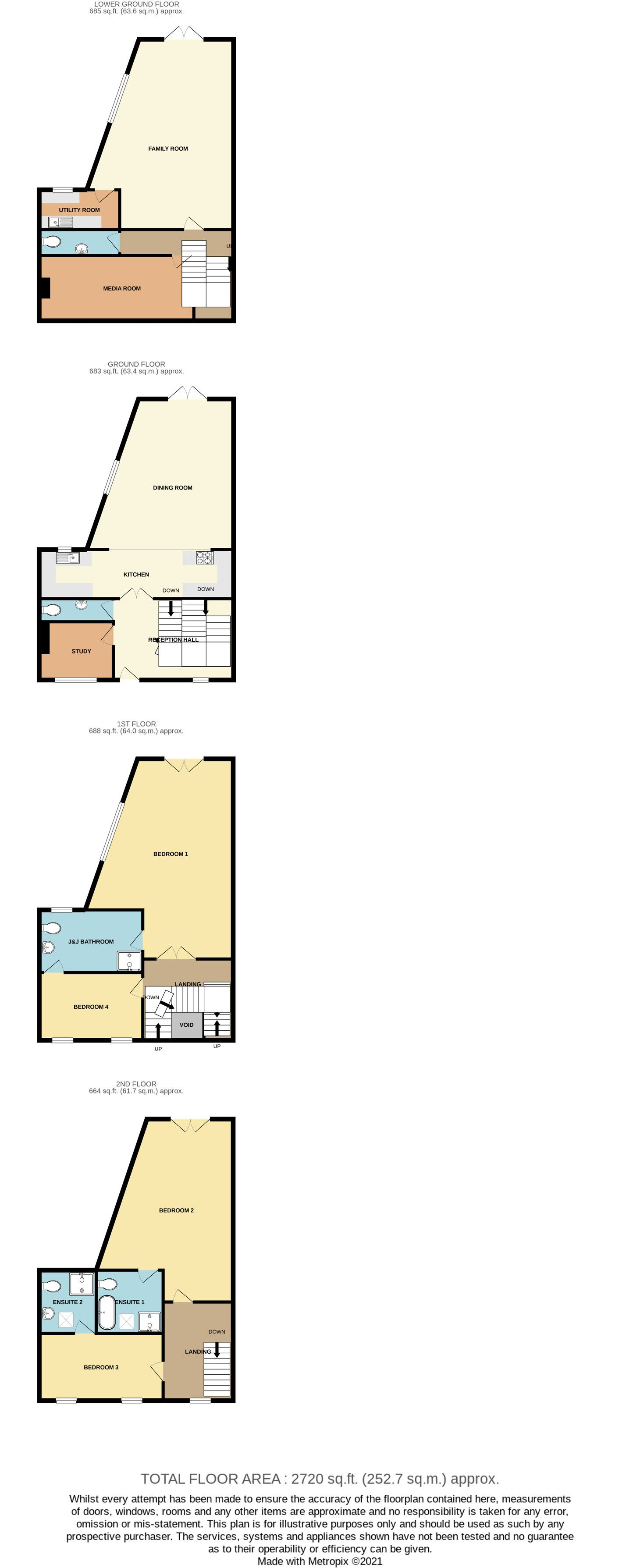 4 bedroom mid terraced house For Sale in Port St Mary - Floorplan 1