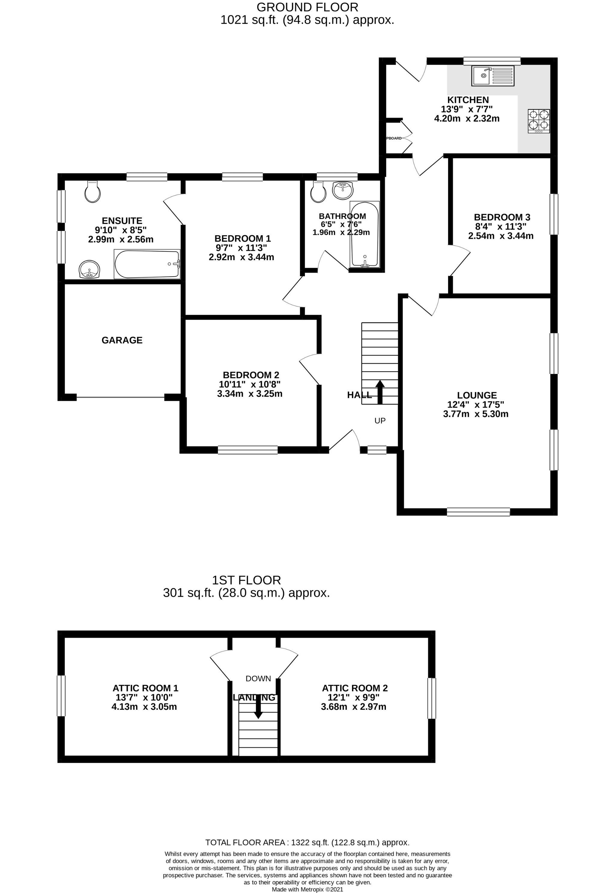3 bedroom detached bungalow For Sale in Onchan - Floorplan 1