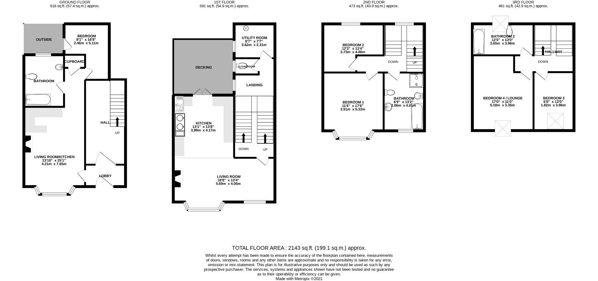 5 bedroom mid terraced house For Sale in Douglas - Floorplan 1