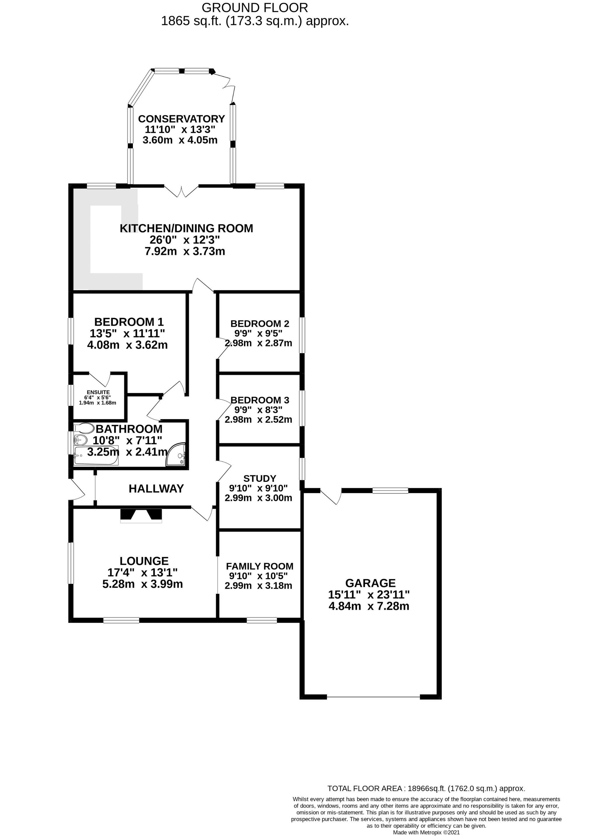3 bedroom detached bungalow SSTC in Onchan - Floorplan 1