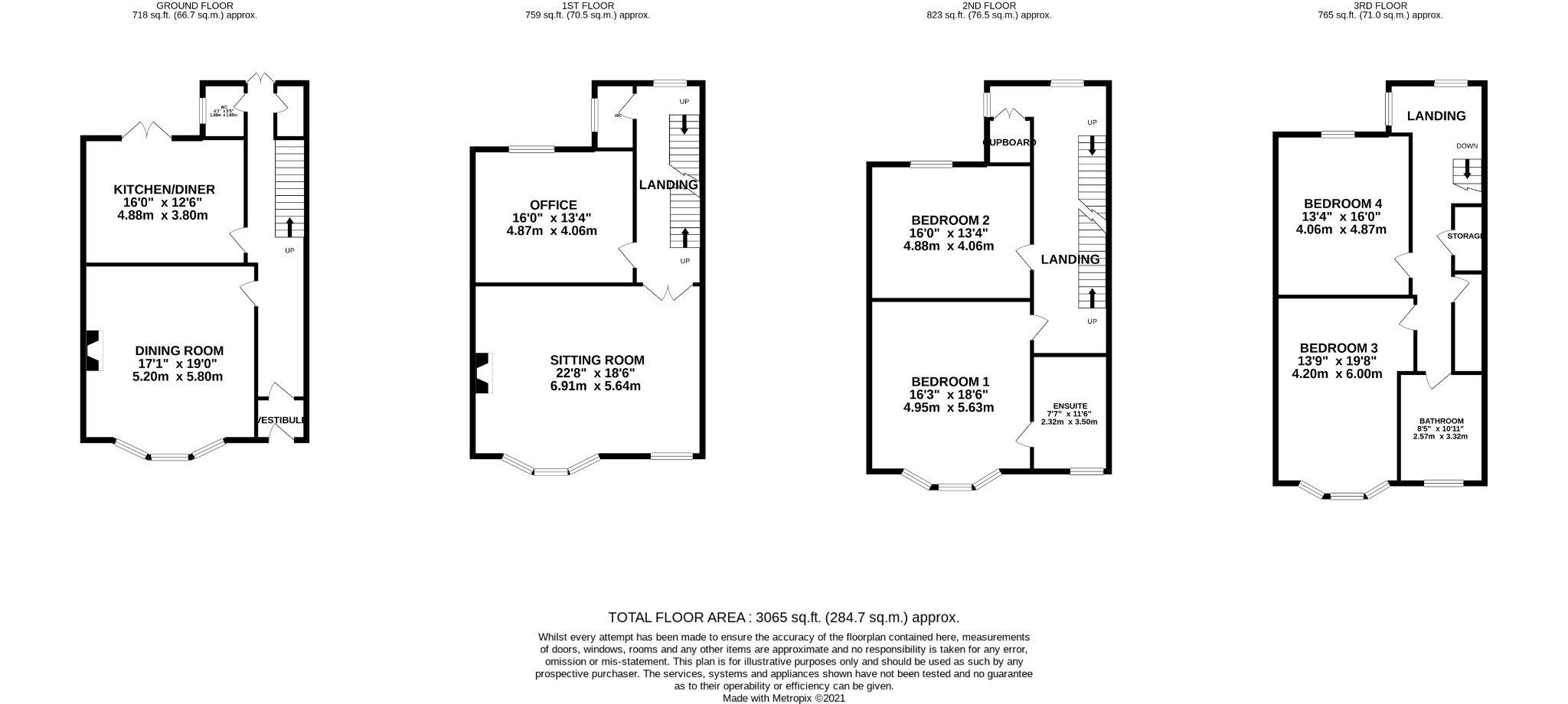 4 bedroom end terraced house For Sale in Ramsey - Floorplan 1
