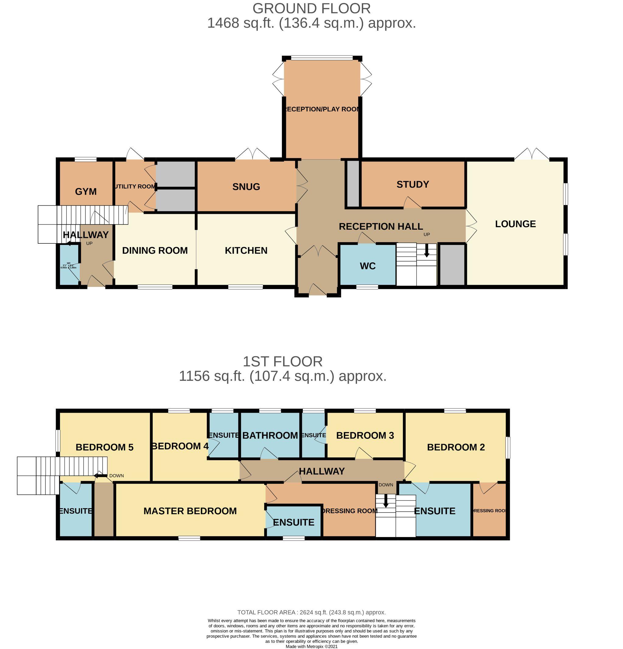 5 bedroom detached house For Sale in Douglas - Floorplan 1