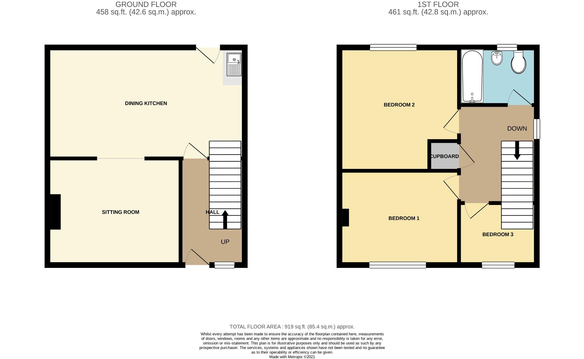 3 bedroom semi-detached house For Sale in Port Erin - Floorplan 1