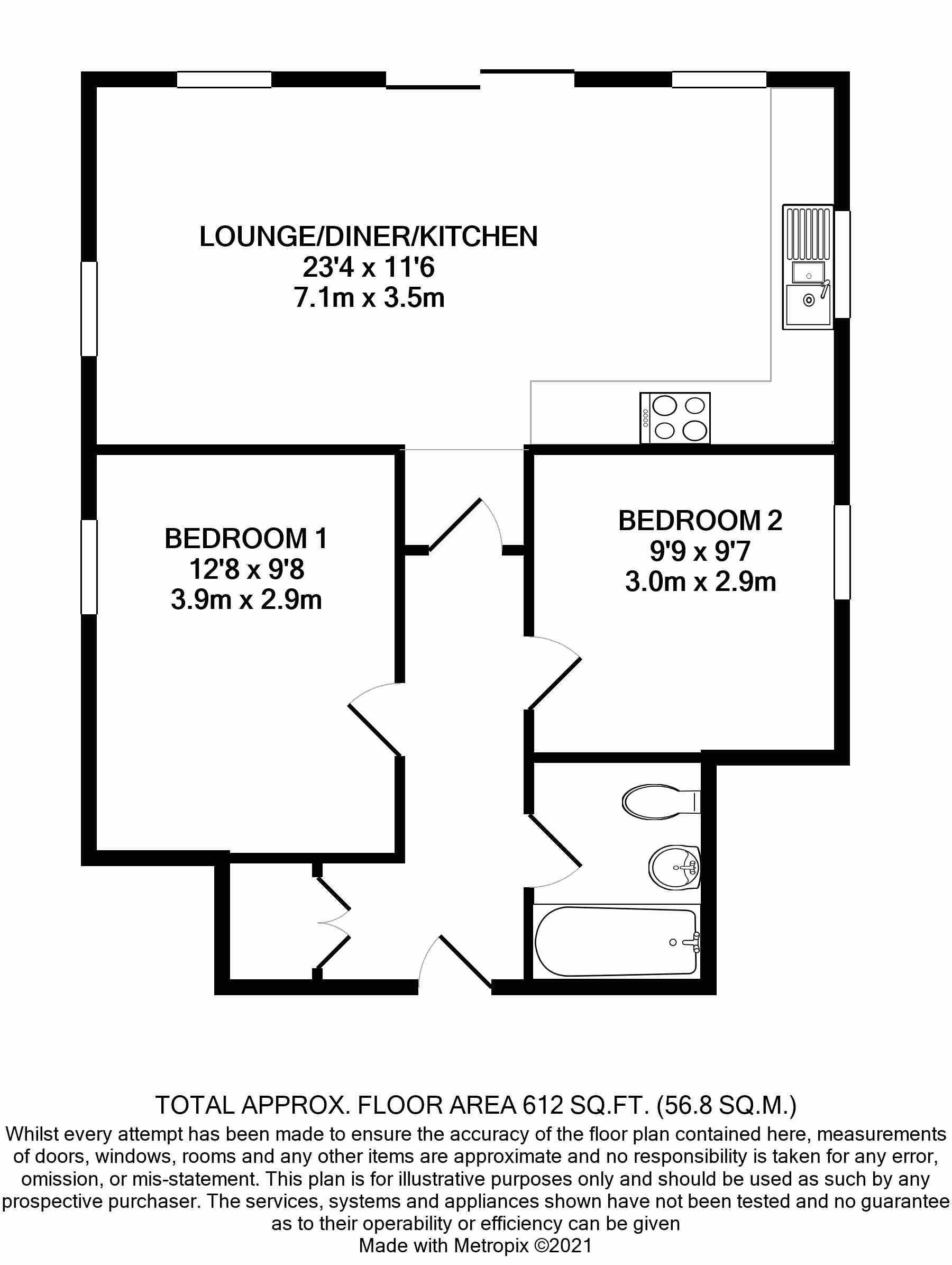 2 bedroom apartment flat/apartment Under Offer in Douglas - Floorplan 1