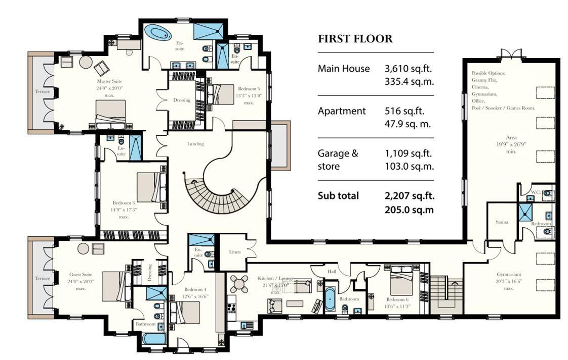 6 bedroom detached house For Sale in Douglas - Floorplan 2