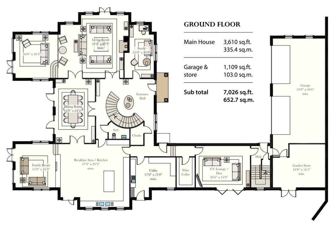 6 bedroom detached house For Sale in Douglas - Floorplan 1