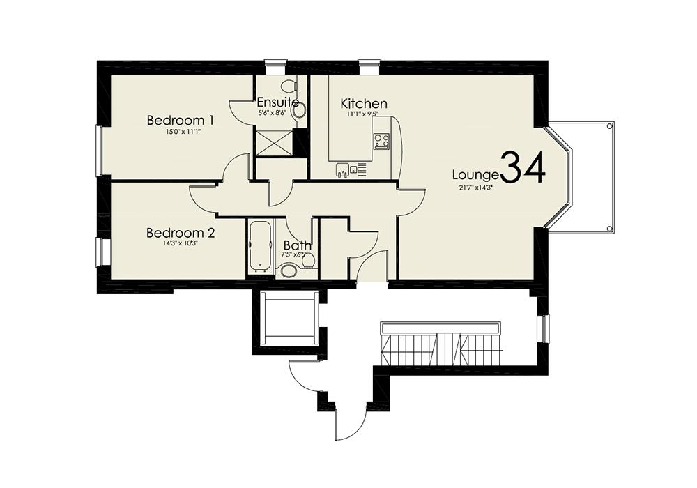 2 bedroom apartment flat/apartment To Let in Onchan - Floorplan 1