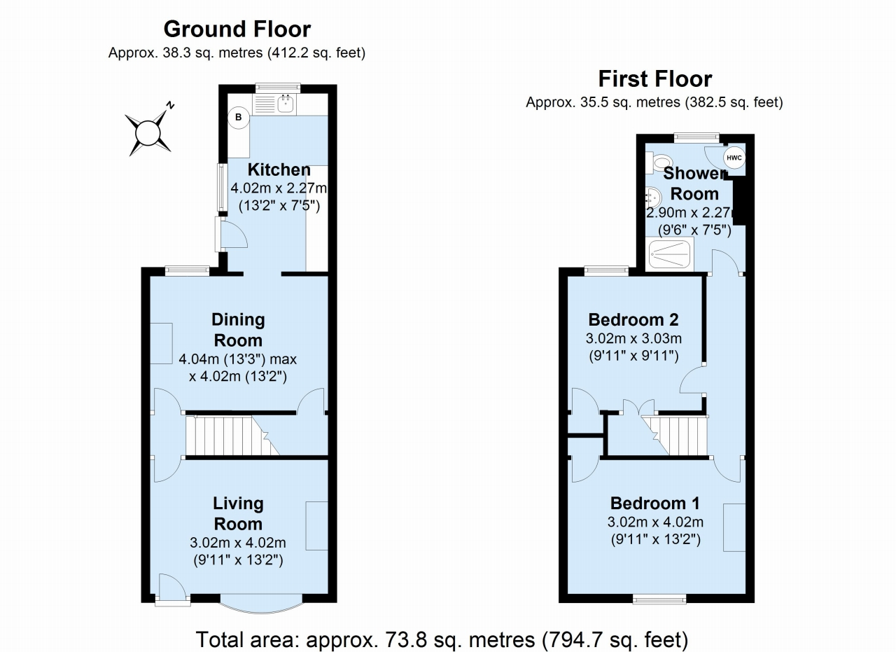 2 bedroom end terraced house For Sale in Dartford - Floorplan 1