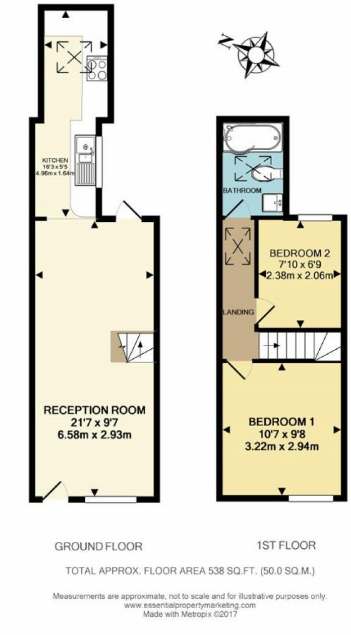 2 bedroom mid terraced house Sold in Sevenoaks - Floorplan 1