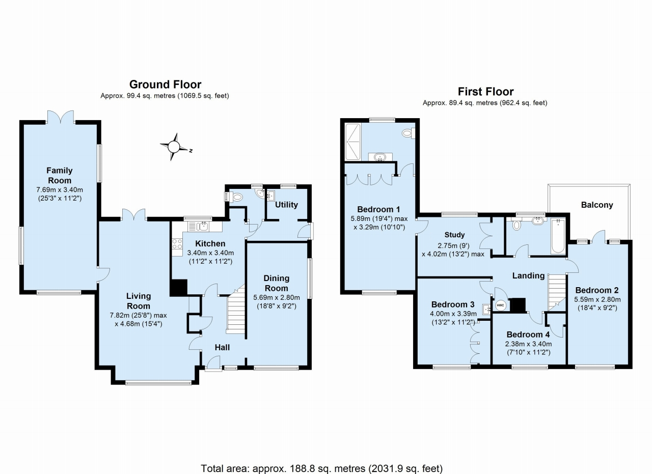 4 bedroom detached house Sold in Tonbridge - Floorplan 1