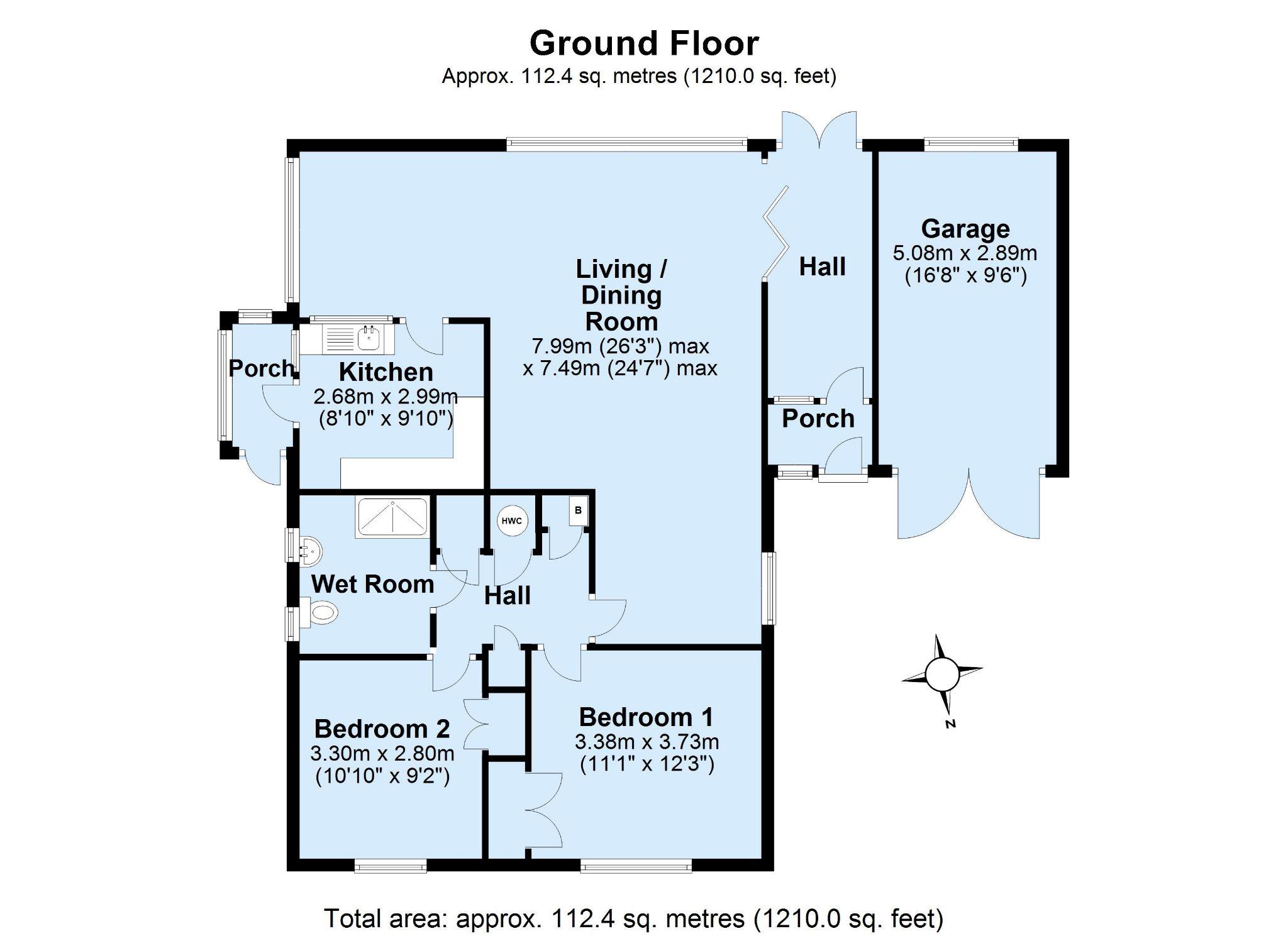 2 bedroom detached bungalow Sale Agreed in Sevenoaks - Floorplan 1