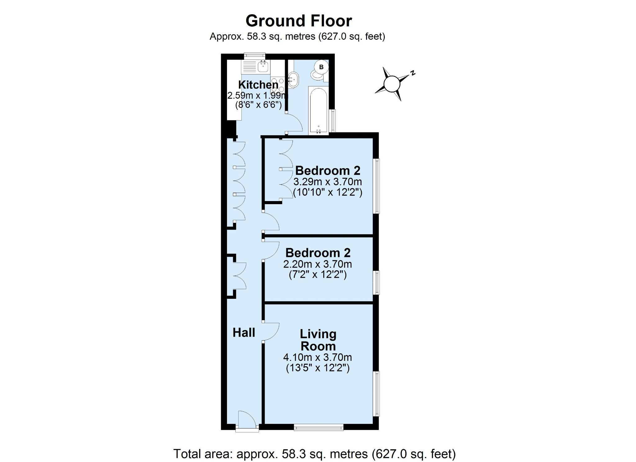 2 bedroom ground floor flat/apartment For Sale in Sevenoaks - Floorplan 1