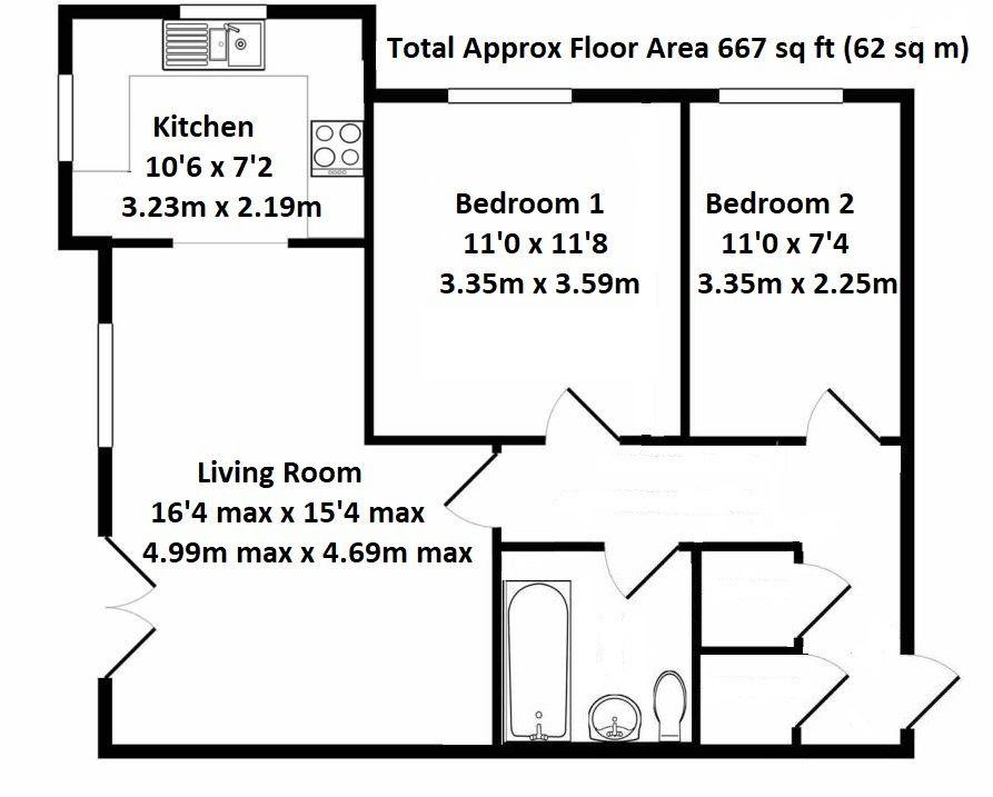 2 bedroom apartment flat/apartment For Sale in Sevenoaks - Floorplan 1