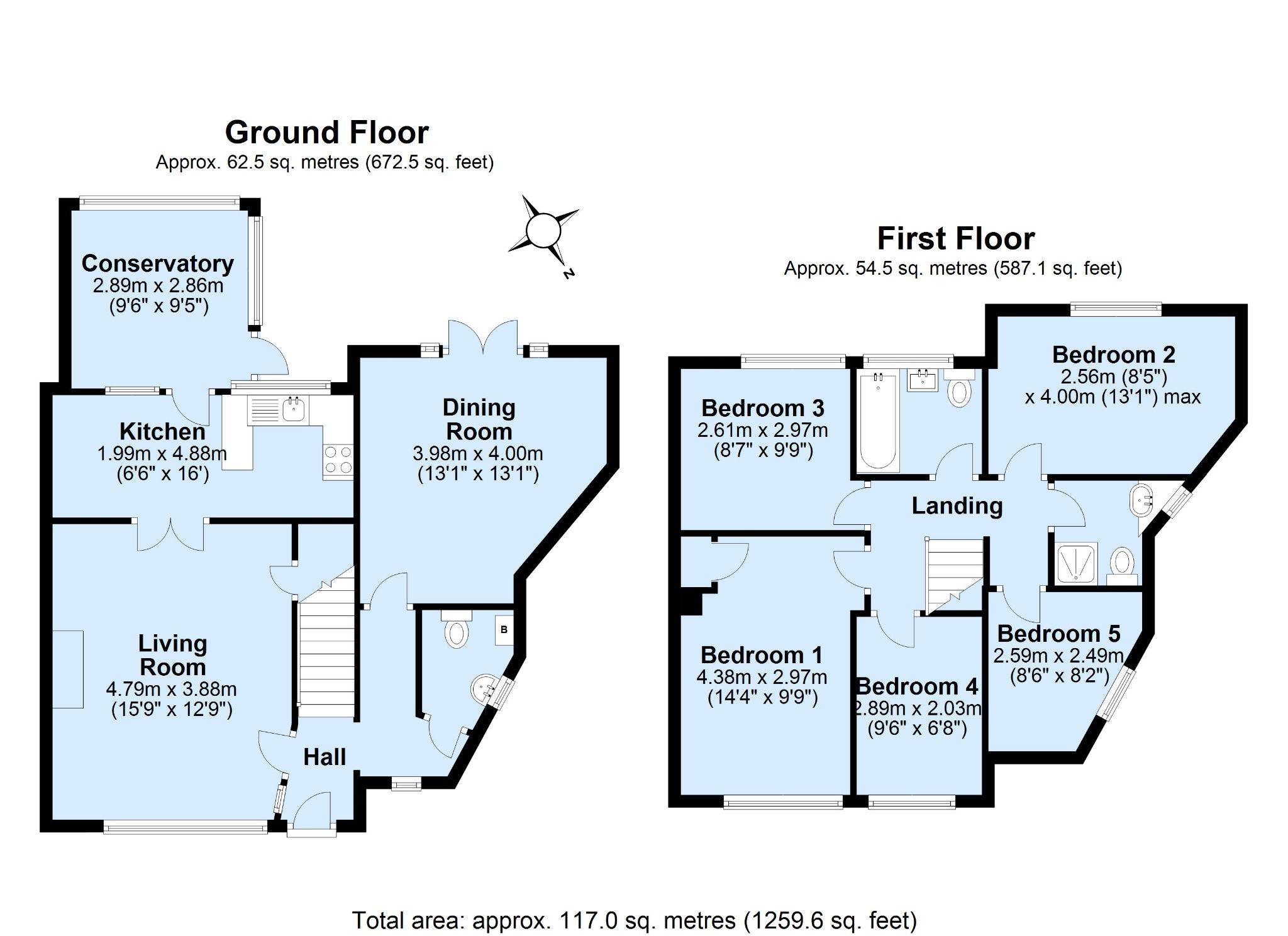 5 bedroom semi-detached house Sold in Sevenoaks - Floorplan 1