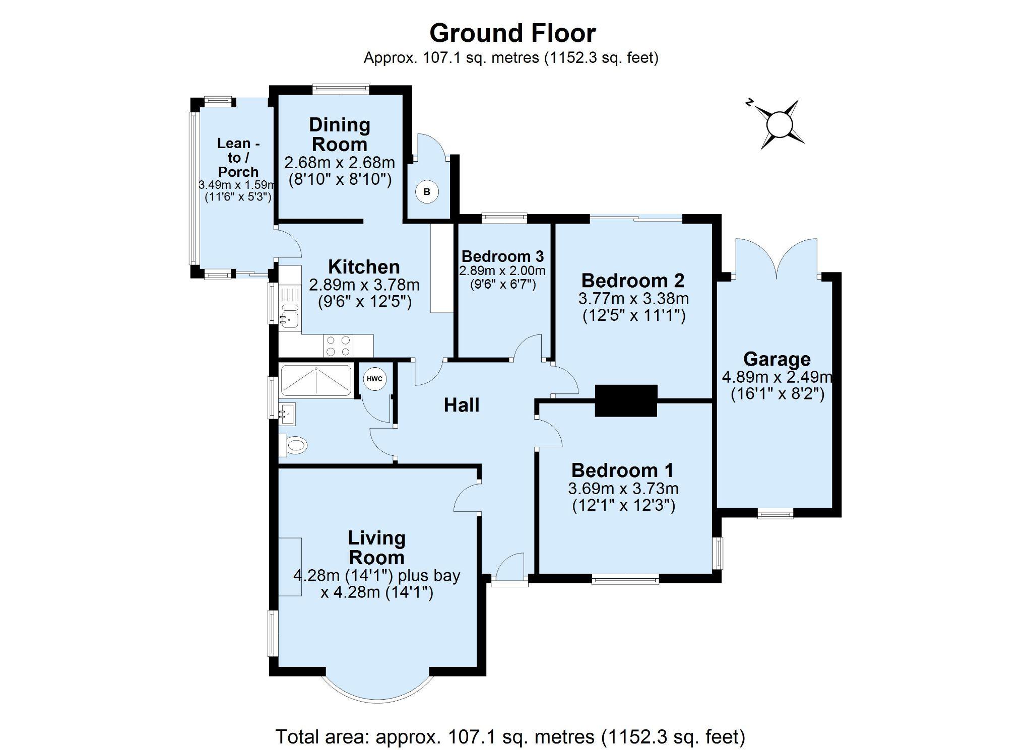 3 bedroom detached bungalow Sale Agreed in Sevenoaks - Floorplan 1