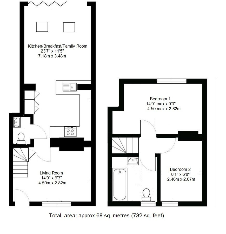 2 bedroom end terraced house Sold in Tonbridge - Floorplan 1
