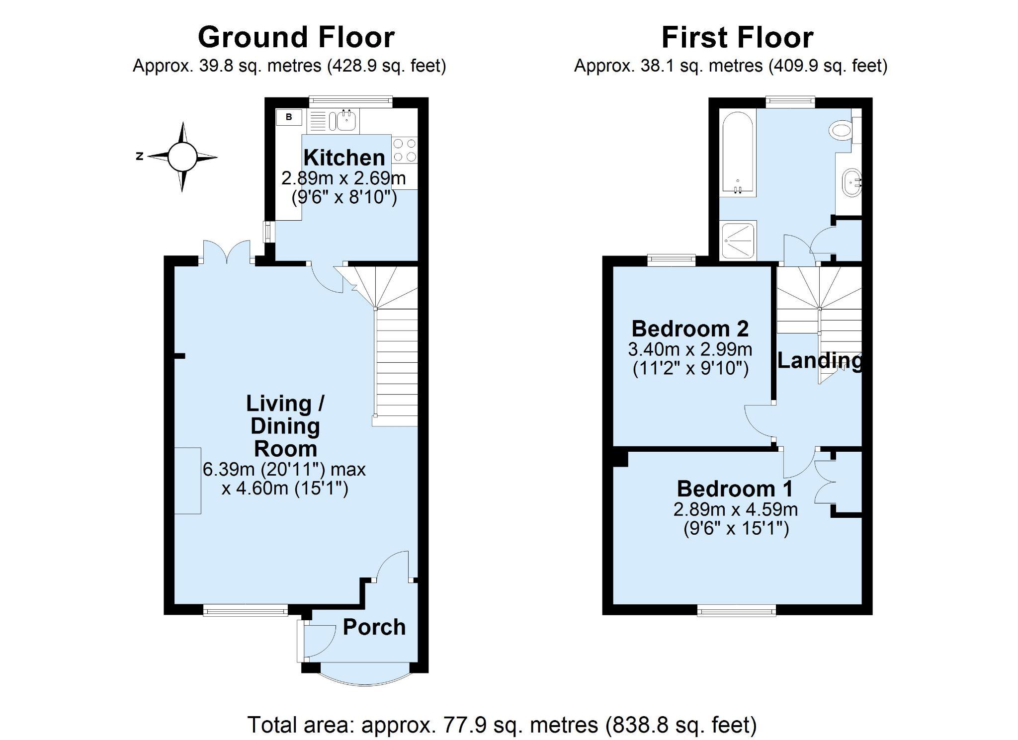 2 bedroom mid terraced house For Sale in Sevenoaks - Floorplan 1
