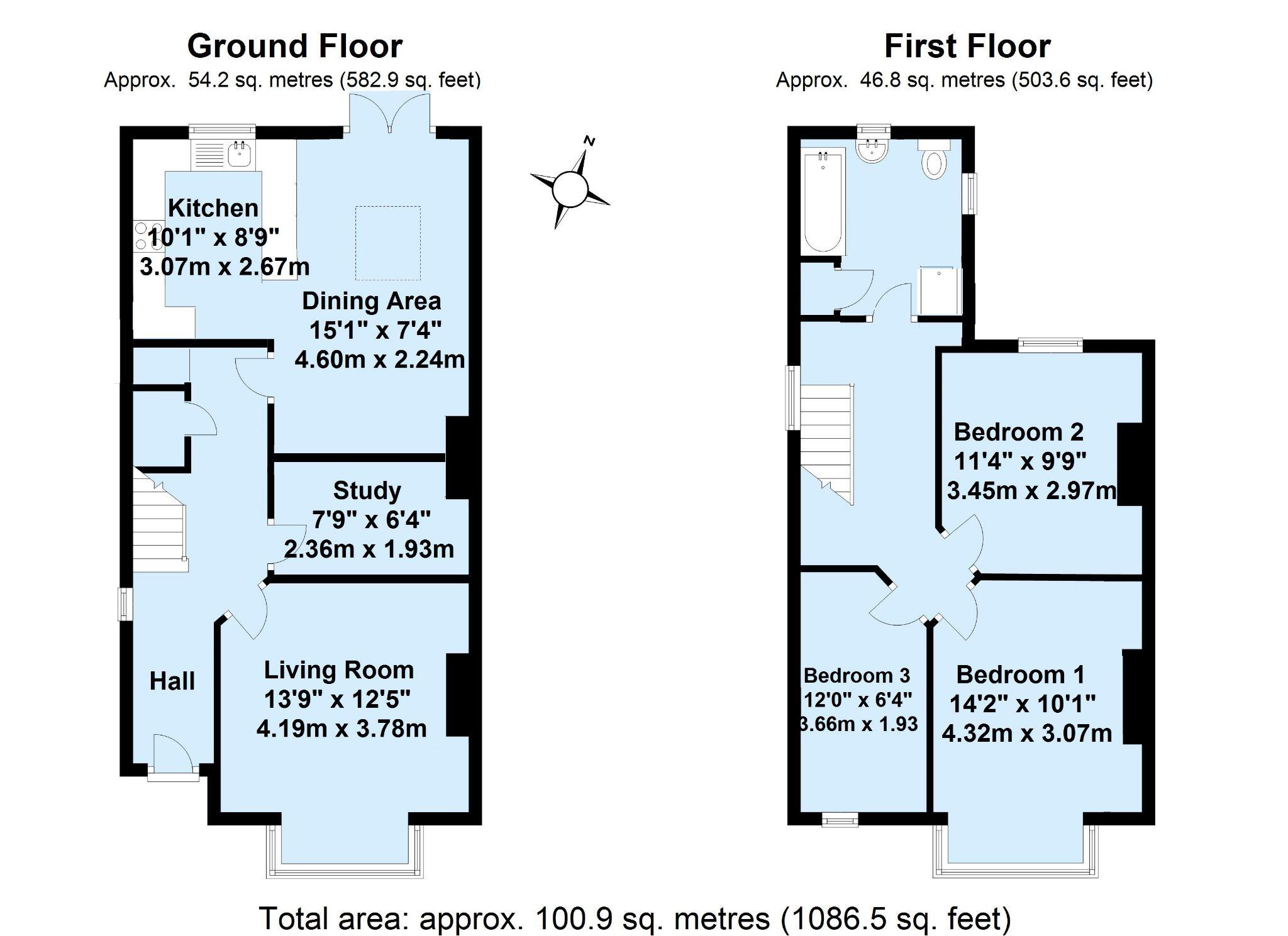 3 bedroom semi-detached house Sold in Sevenoaks - Floorplan 1