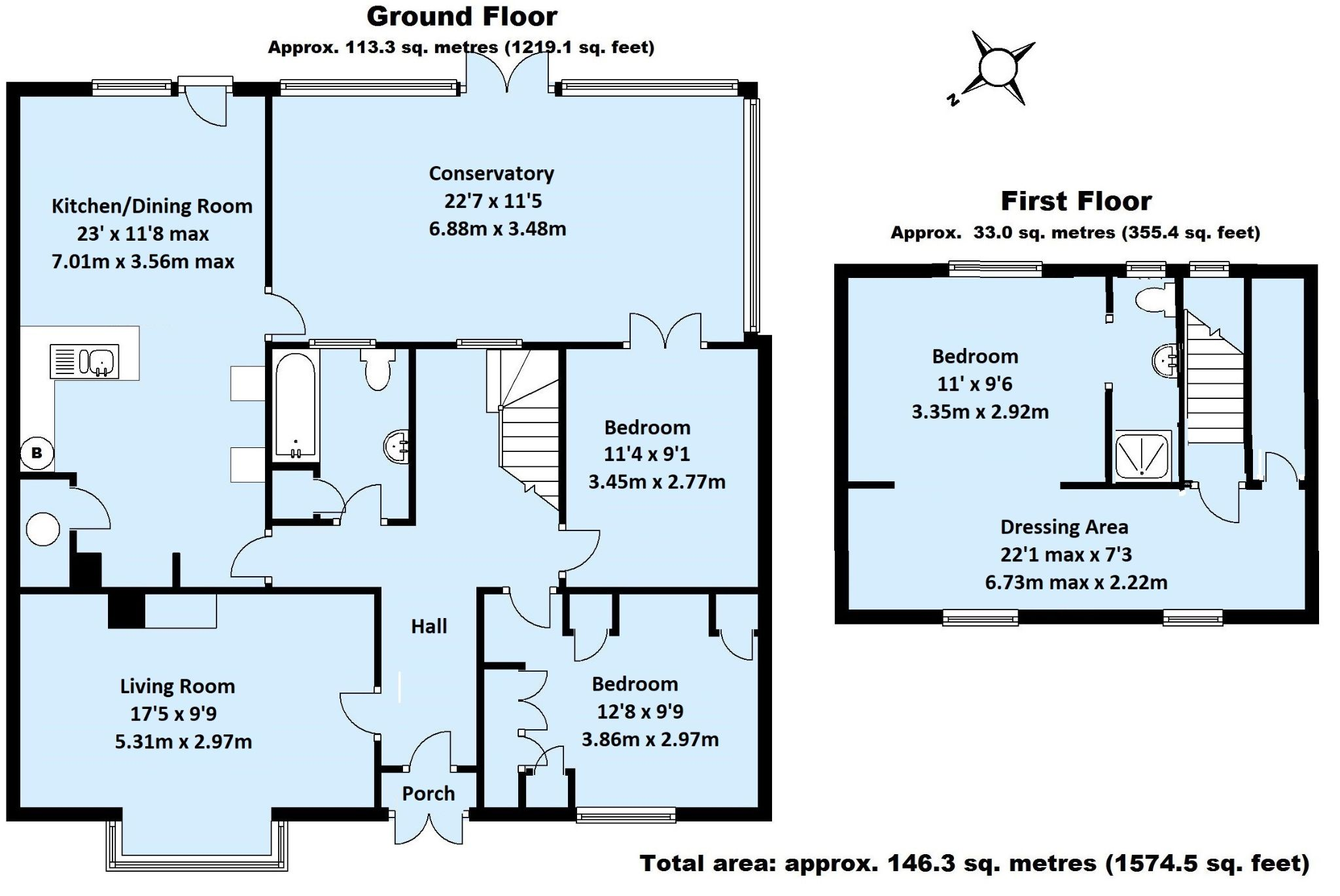 3 bedroom detached house For Sale in Sevenoaks - Floorplan 1