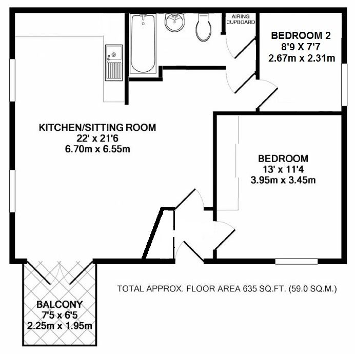 2 bedroom apartment flat/apartment Sale Agreed in Chipstead - Floorplan 1