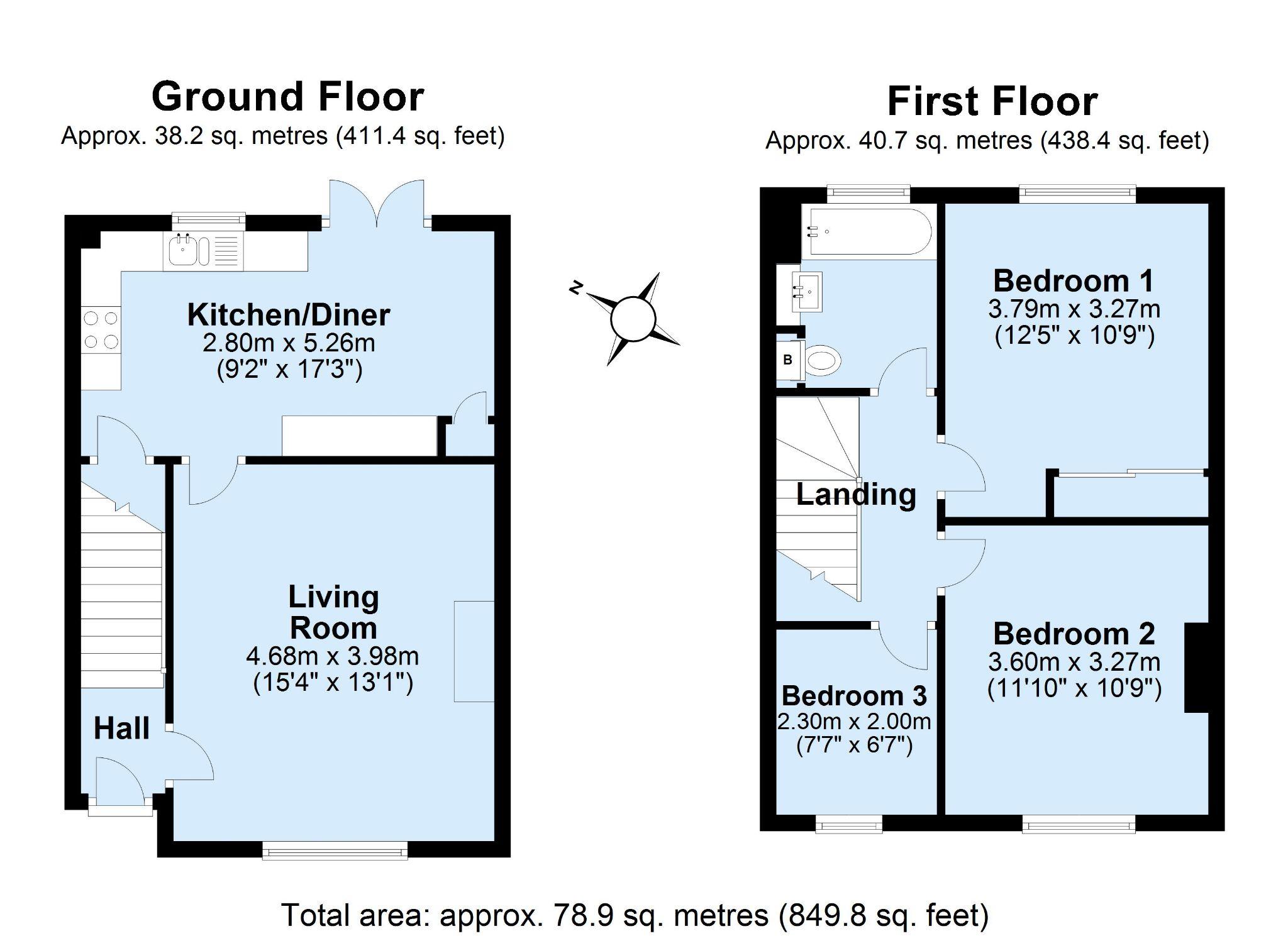 3 bedroom mid terraced house Sale Agreed in Sevenoaks - Floorplan 1