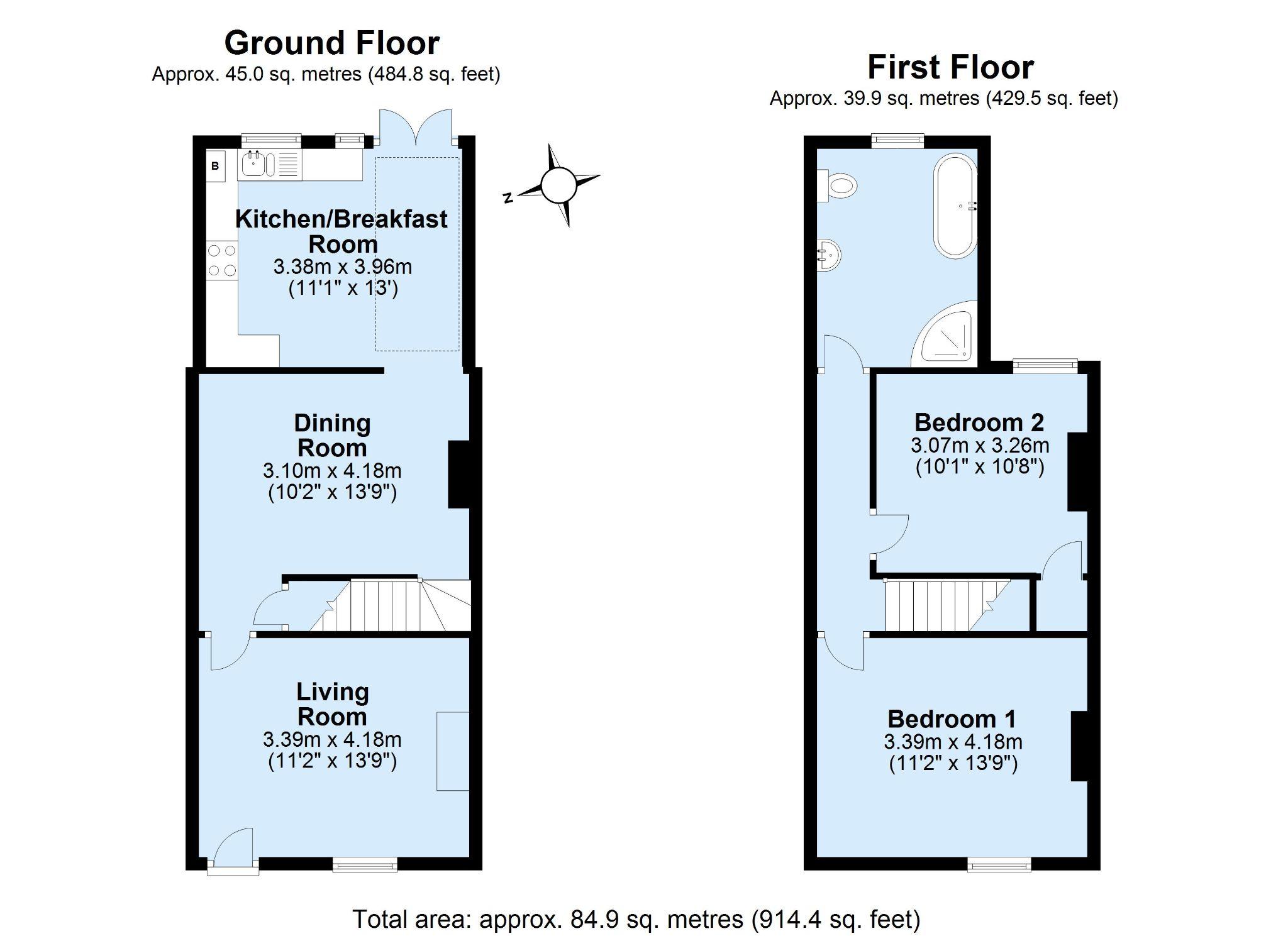 2 bedroom mid terraced house Sold in Seal - Floorplan 1