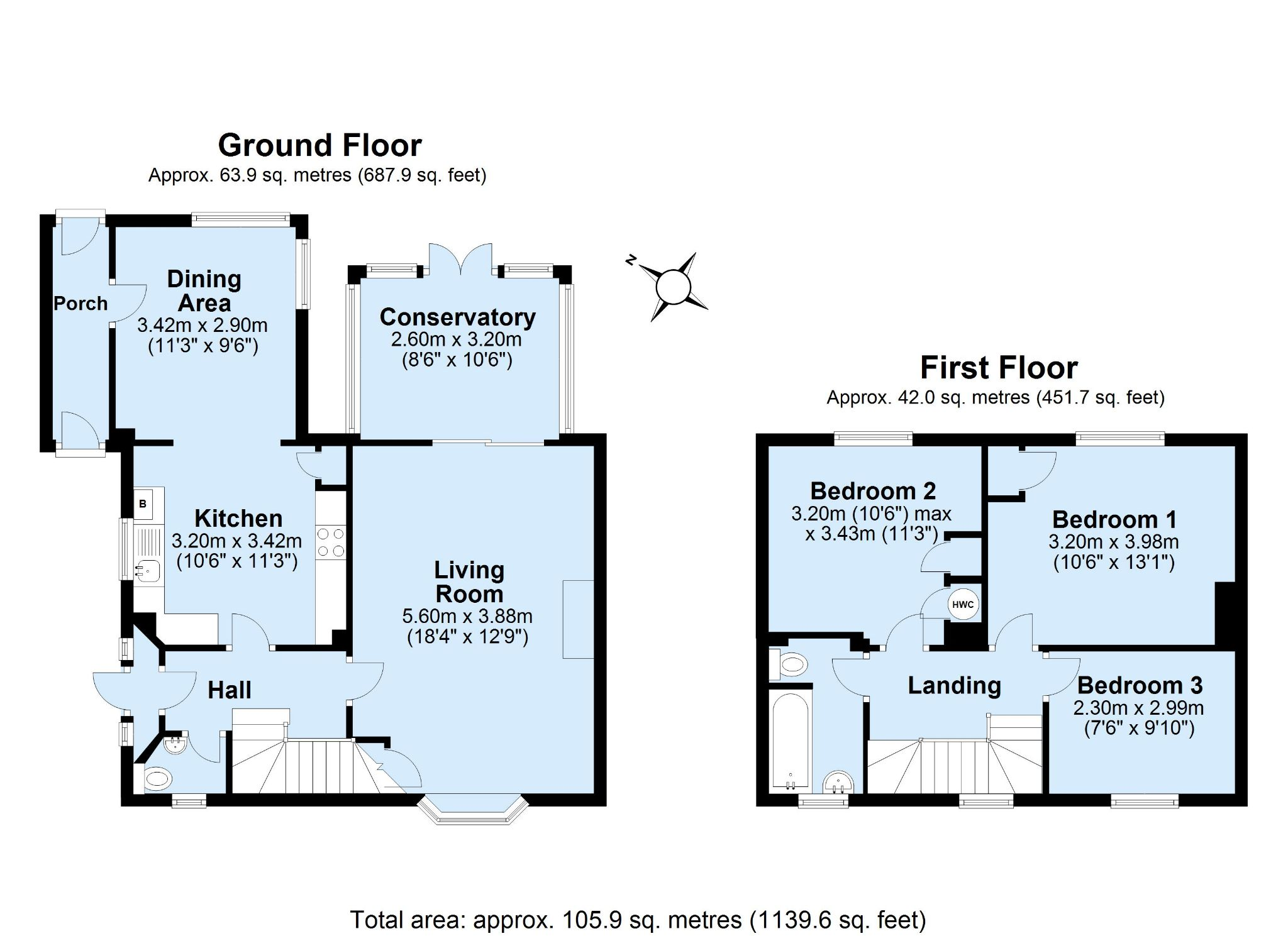 3 bedroom semi-detached house Sold in Sevenoaks - Floorplan 1