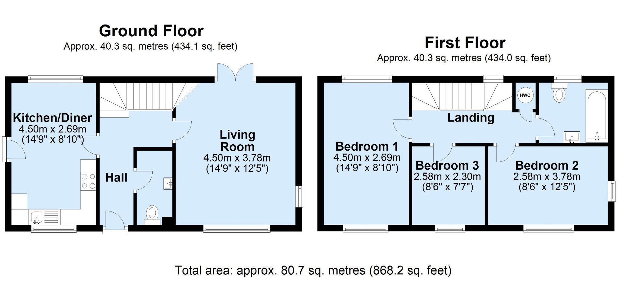 3 bedroom detached house For Sale in Sevenoaks - Floorplan 1