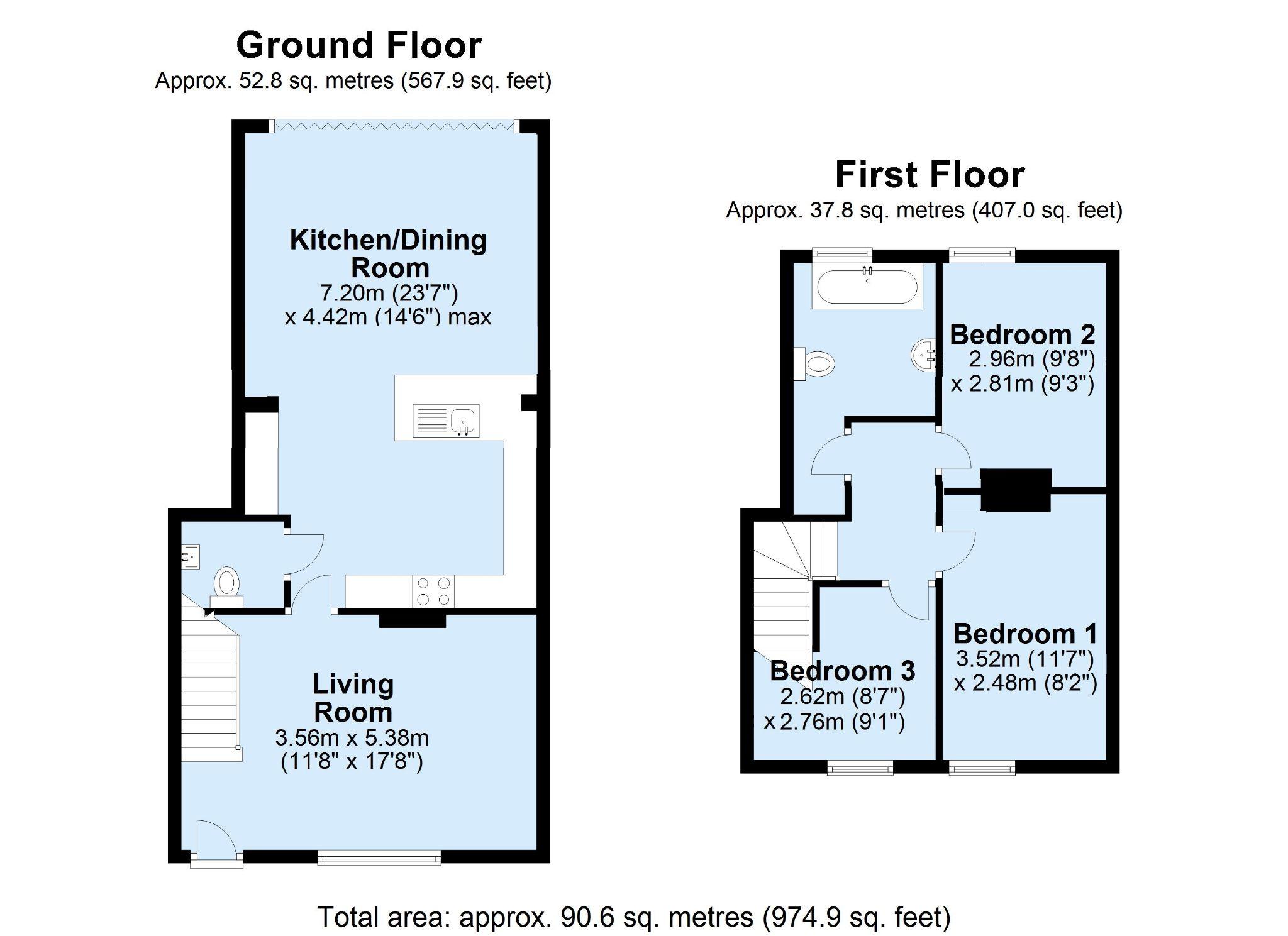3 bedroom end terraced house Sold in Tonbridge - Floorplan 1