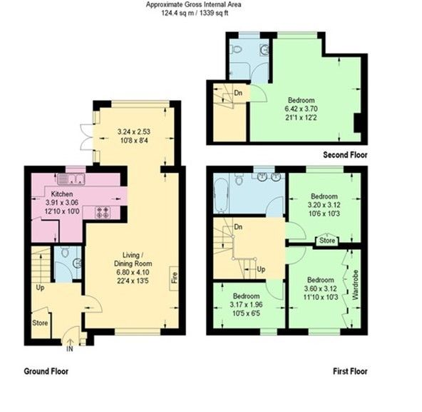 4 bedroom mid terraced house Sold in Sevenoaks - Floorplan 1