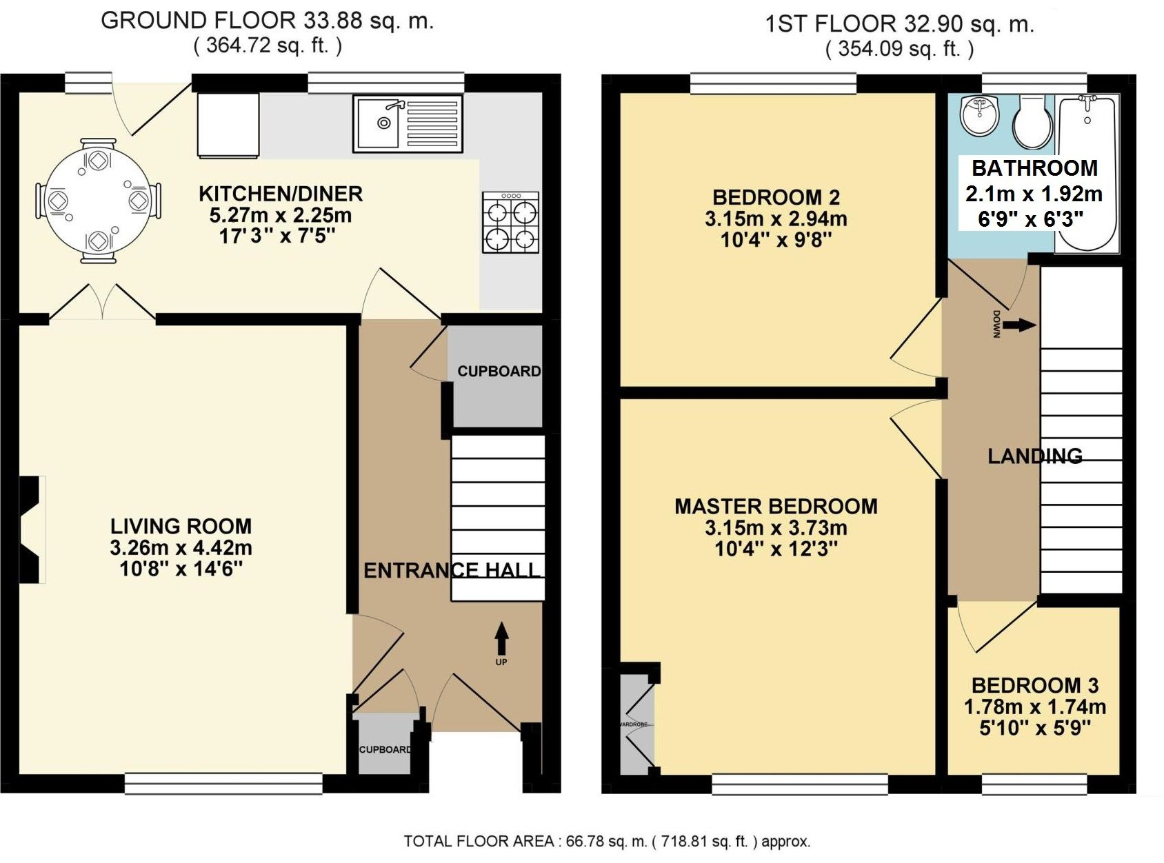 3 bedroom mid terraced house For Sale in Sevenoaks - Floorplan 1