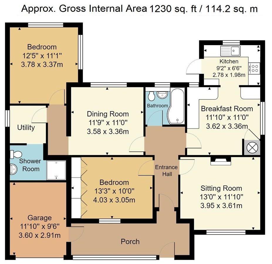 2 bedroom detached bungalow Sold in Sevenoaks - Floorplan 1
